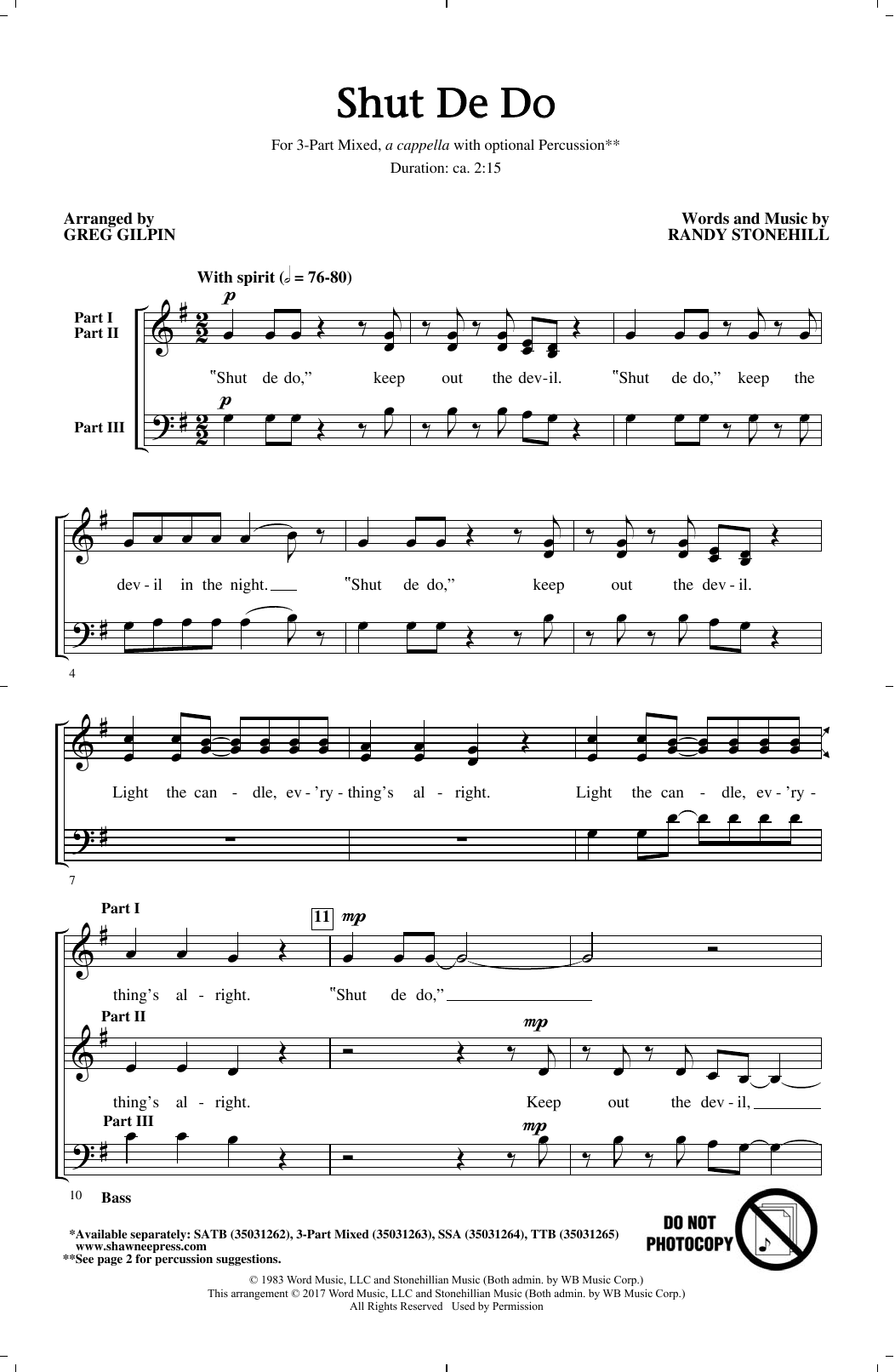 Shut de Do Sheet Music