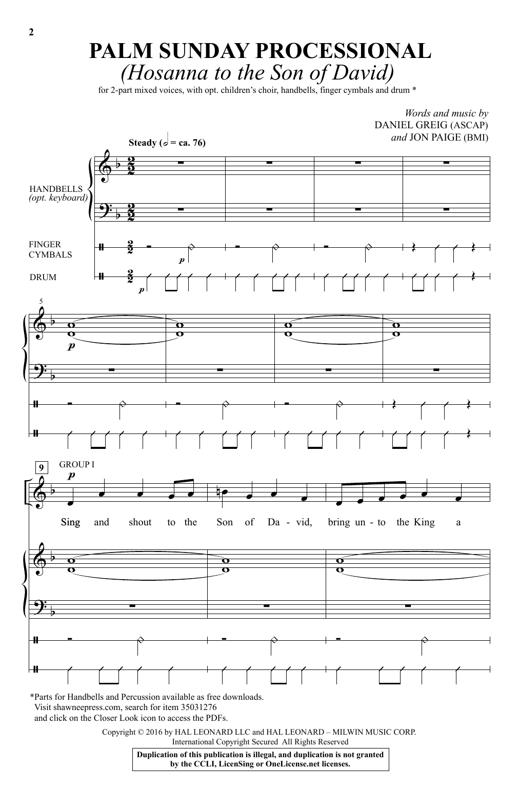 Palm Sunday Processional (Hosanna To The Son Of David) (2-Part Choir)