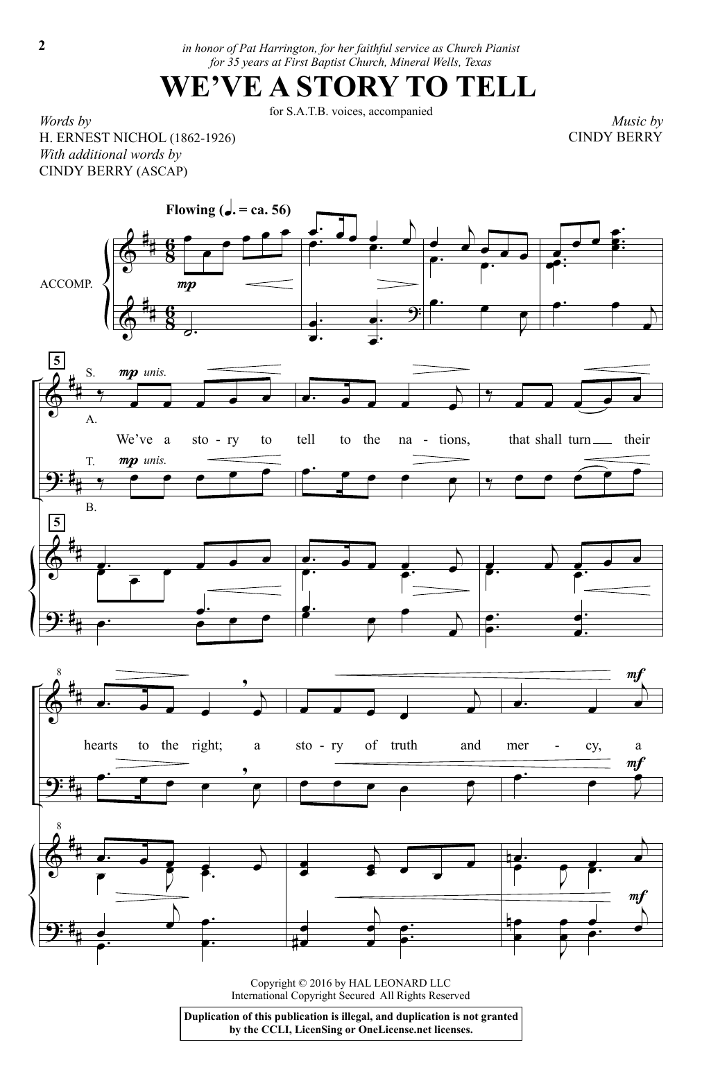 We've A Story To Tell (SATB Choir)
