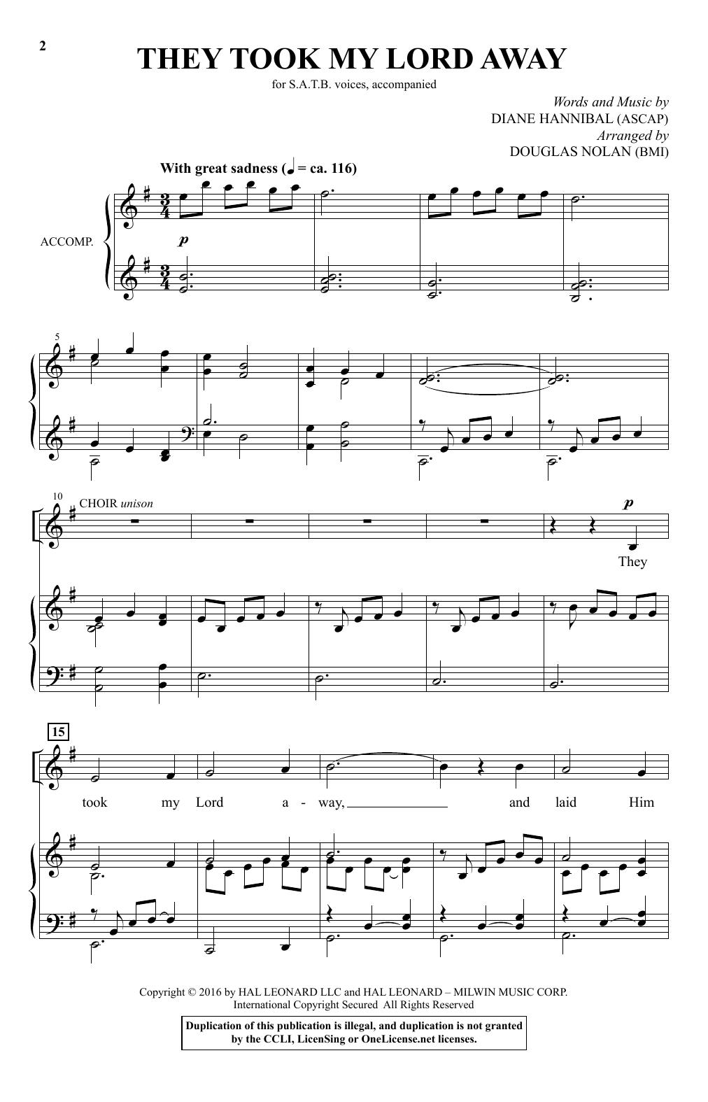 They Took My Lord Away (arr. Douglas Nolan) (SATB Choir)