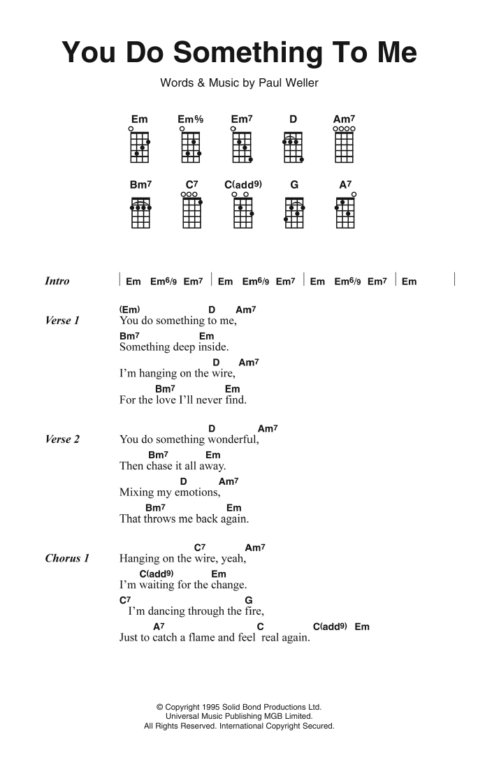 You Do Something To Me Sheet Music Paul Weller Piano Vocal Guitar