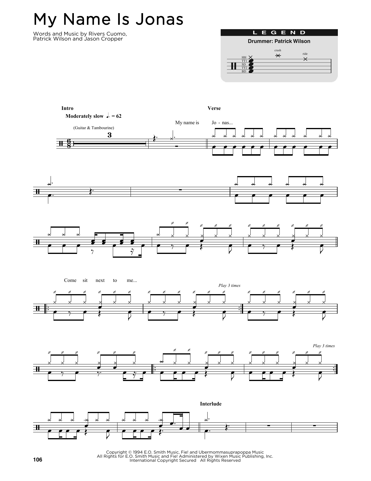 My Name Is Jonas (Drums Transcription)