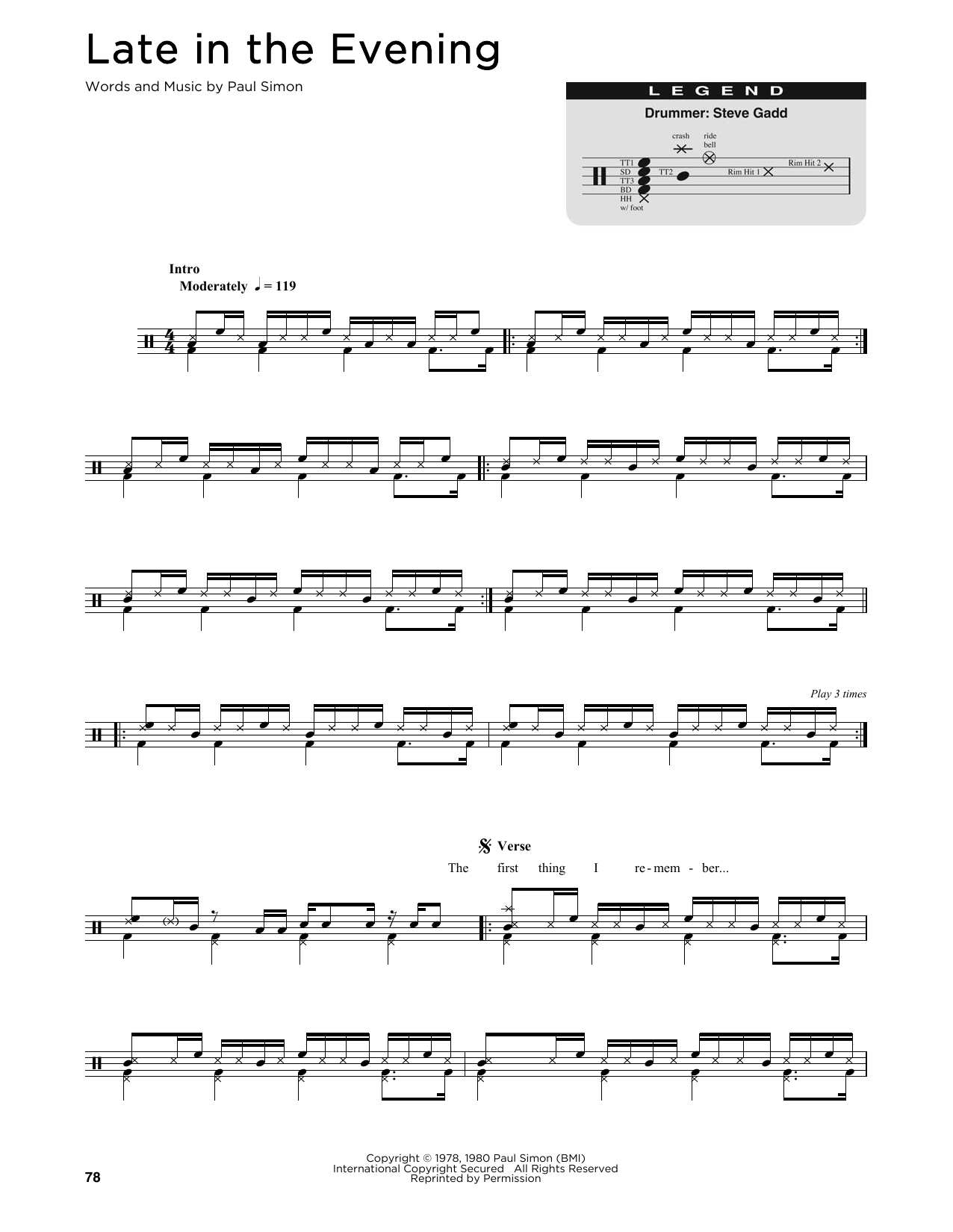 Late In The Evening (Drum Chart)