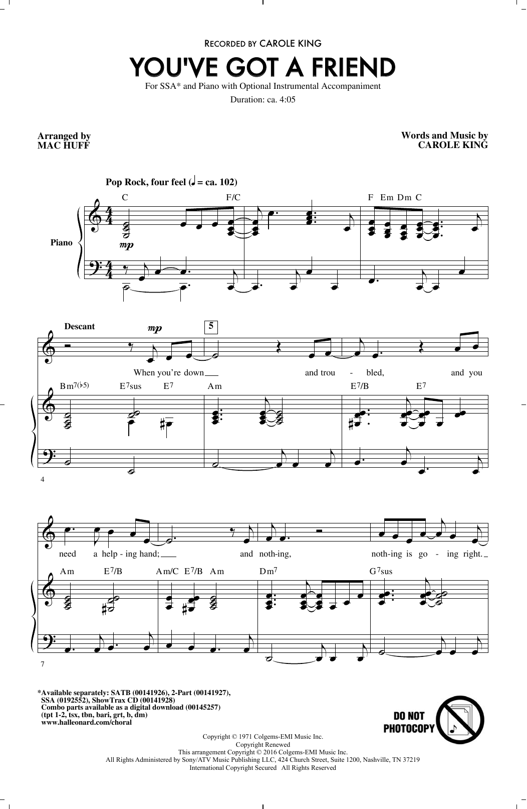You've Got A Friend (arr. Mac Huff) Sheet Music