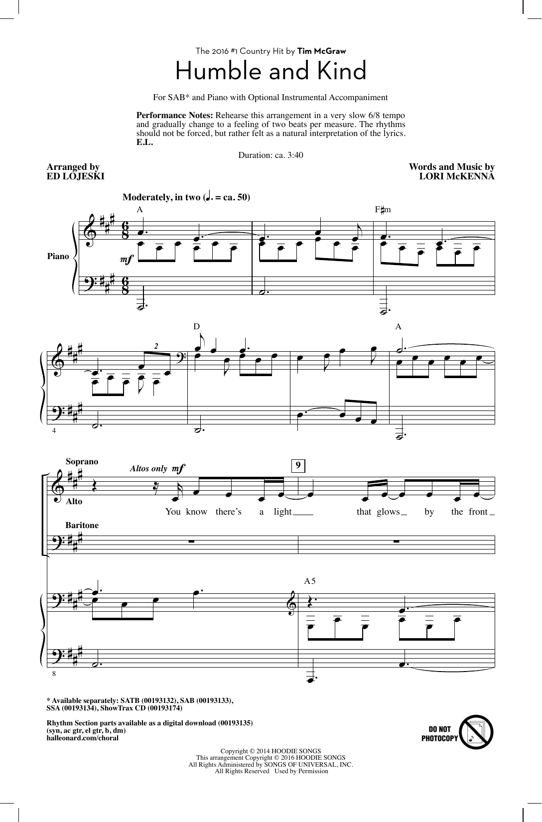 page one of Humble And Kind (arr. Ed Lojeski)ASALTTEXT
