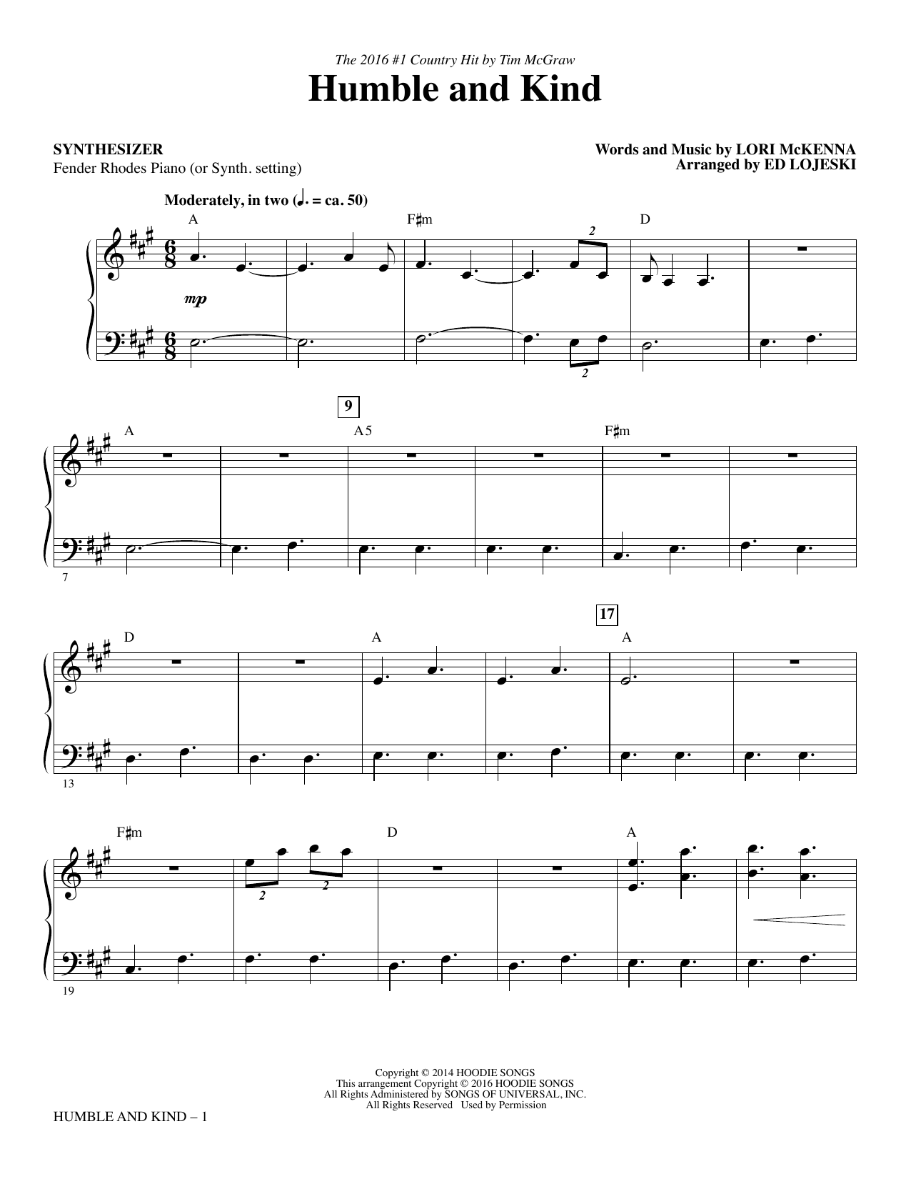 Humble and Kind (complete set of parts) sheet music for orchestra/band by Lori McKenna, Ed Lojeski and Tim McGraw. Score Image Preview.