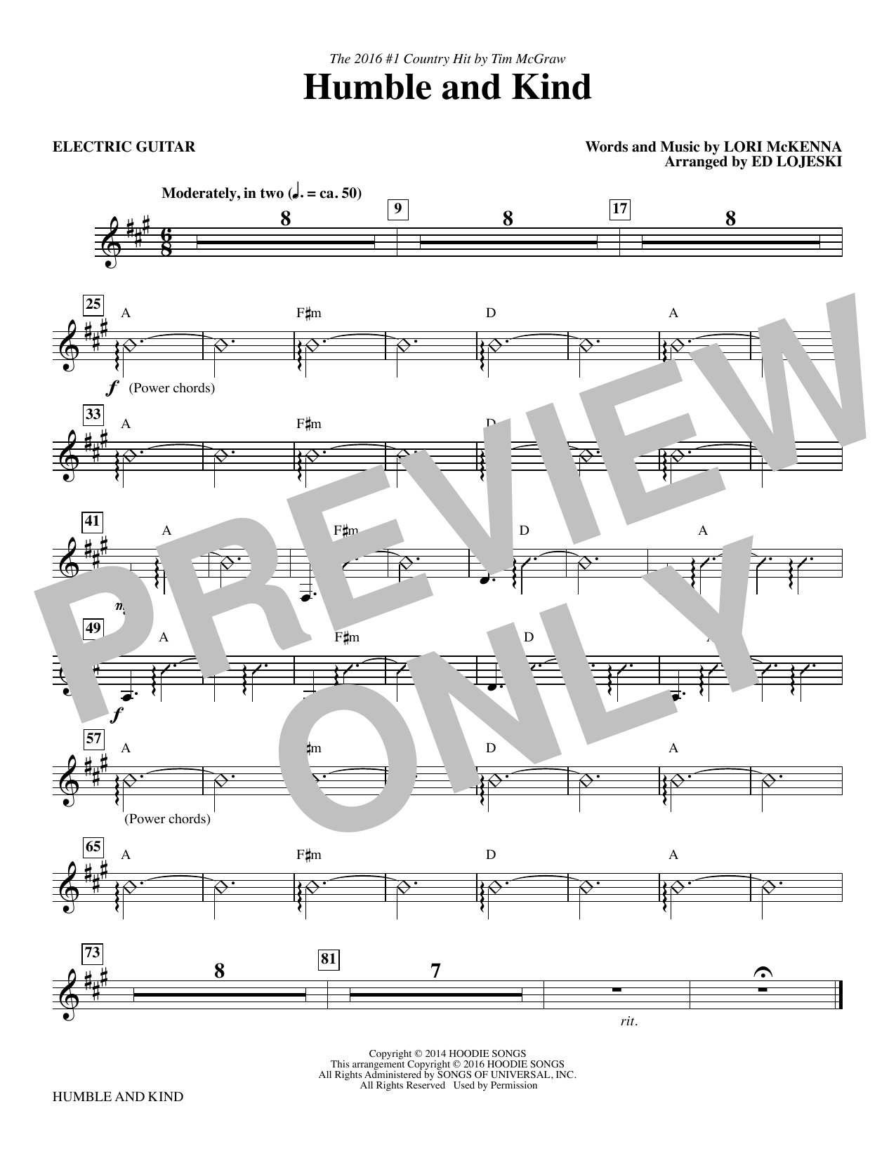 Humble and Kind - Electric Guitar Sheet Music