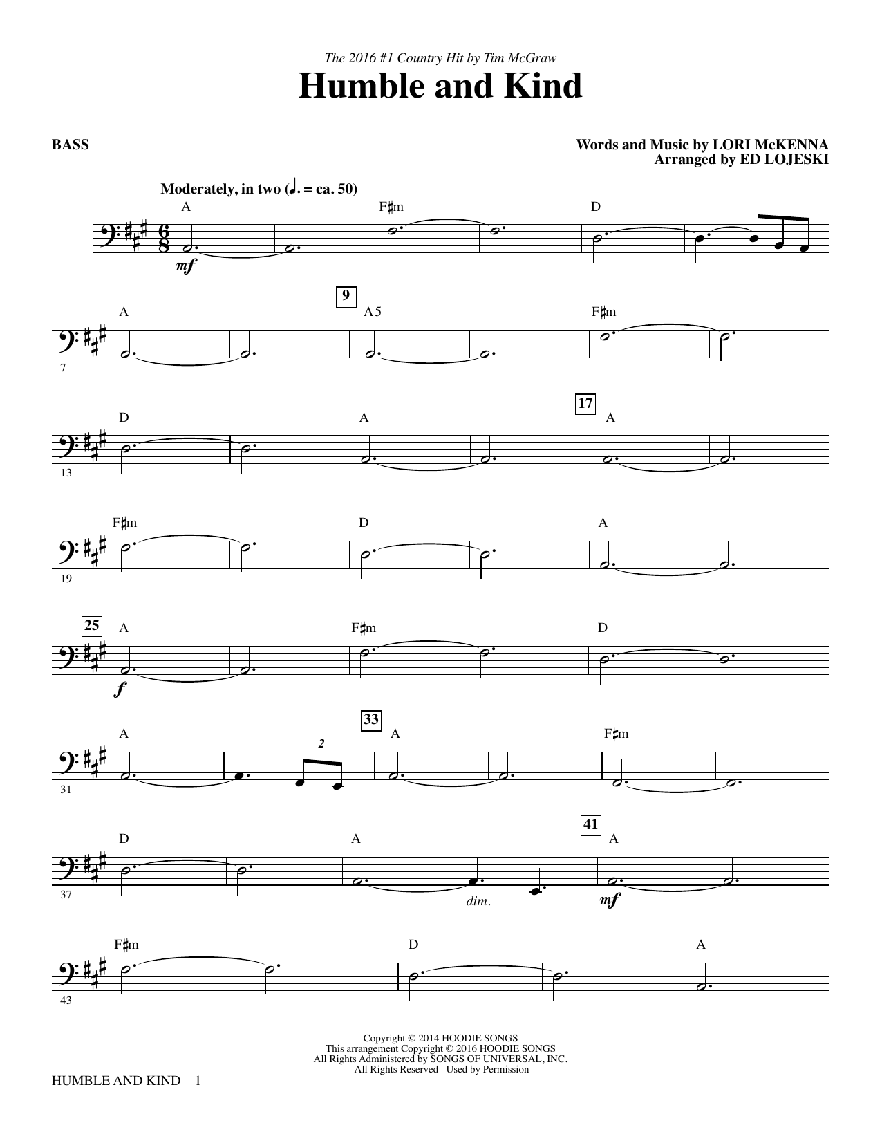 Humble and Kind - Bass Sheet Music