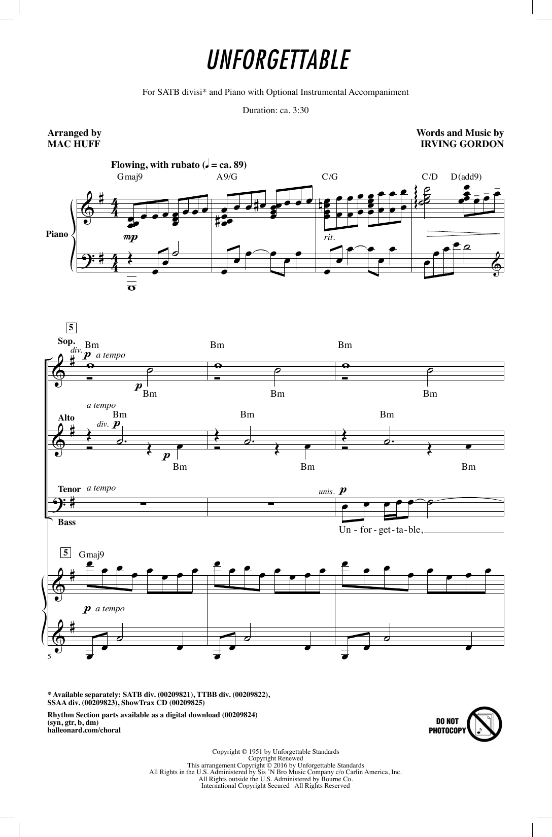 Unforgettable (arr. Mac Huff) (SATB Choir)