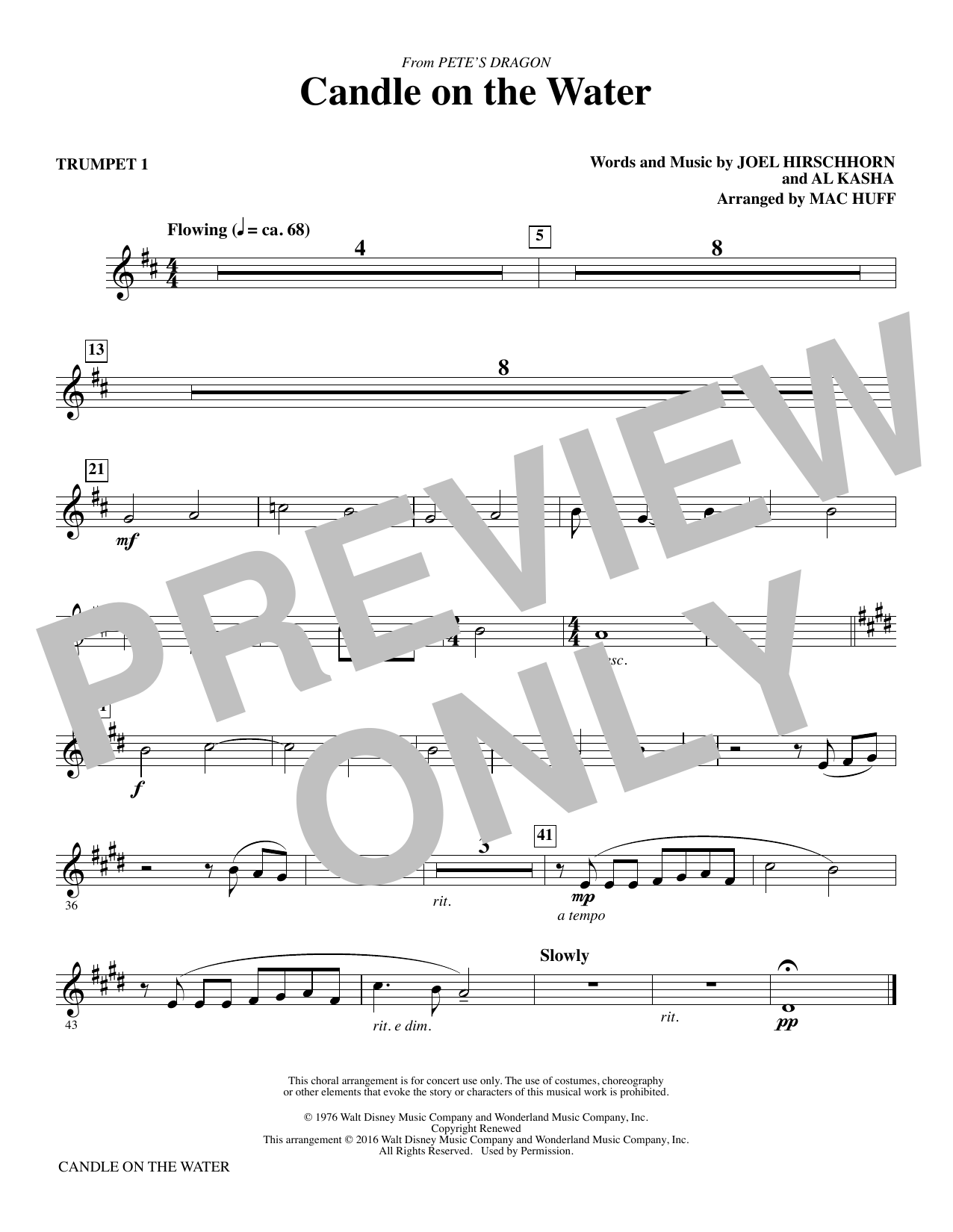 Candle on the Water (complete set of parts) sheet music for orchestra/band by Mac Huff, Al Kasha and Joel Hirschhorn. Score Image Preview.
