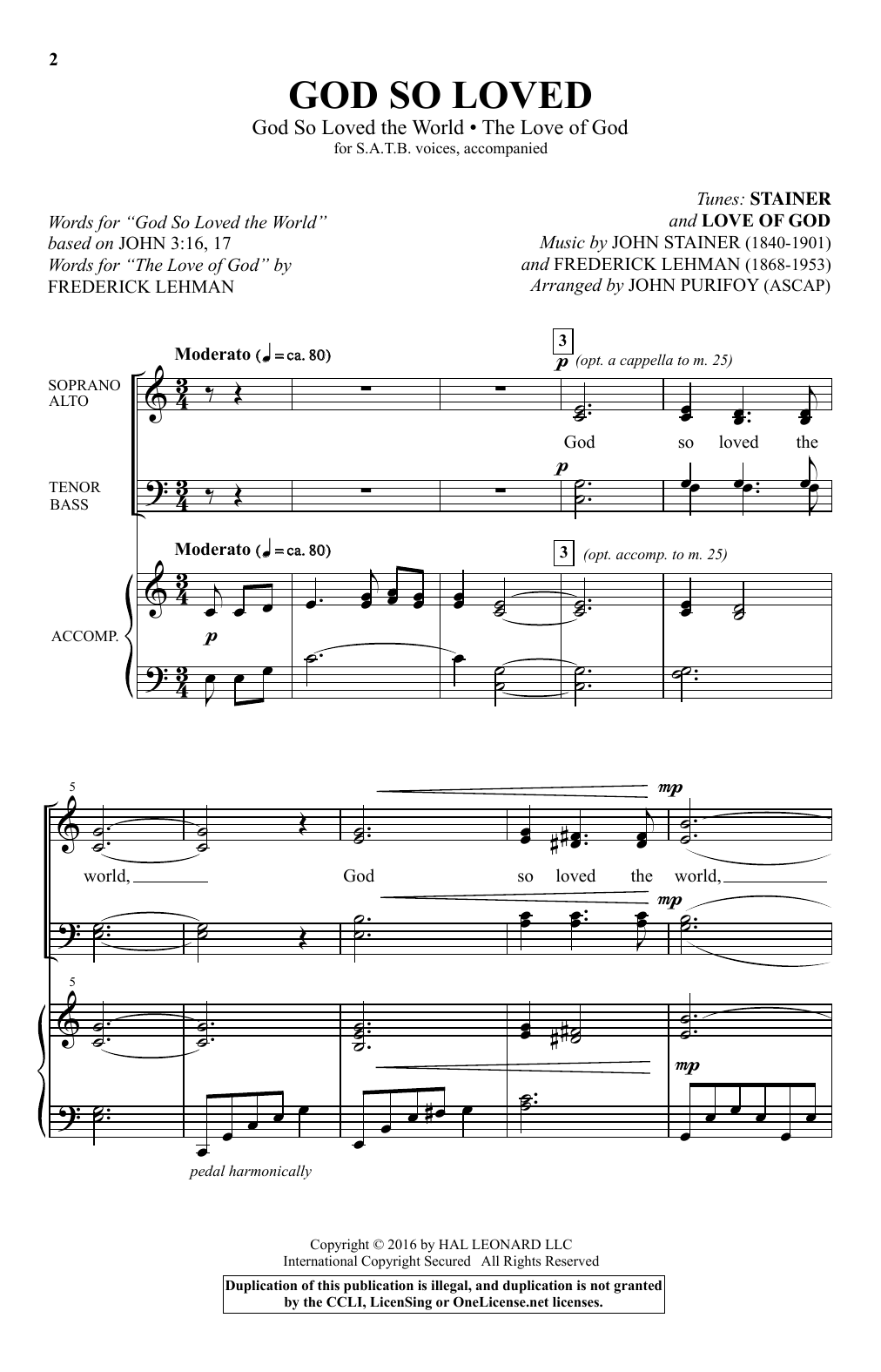 """God So Loved (With """"God So Loved The World"""" And """"The Love Of God"""") (SATB Choir)"""