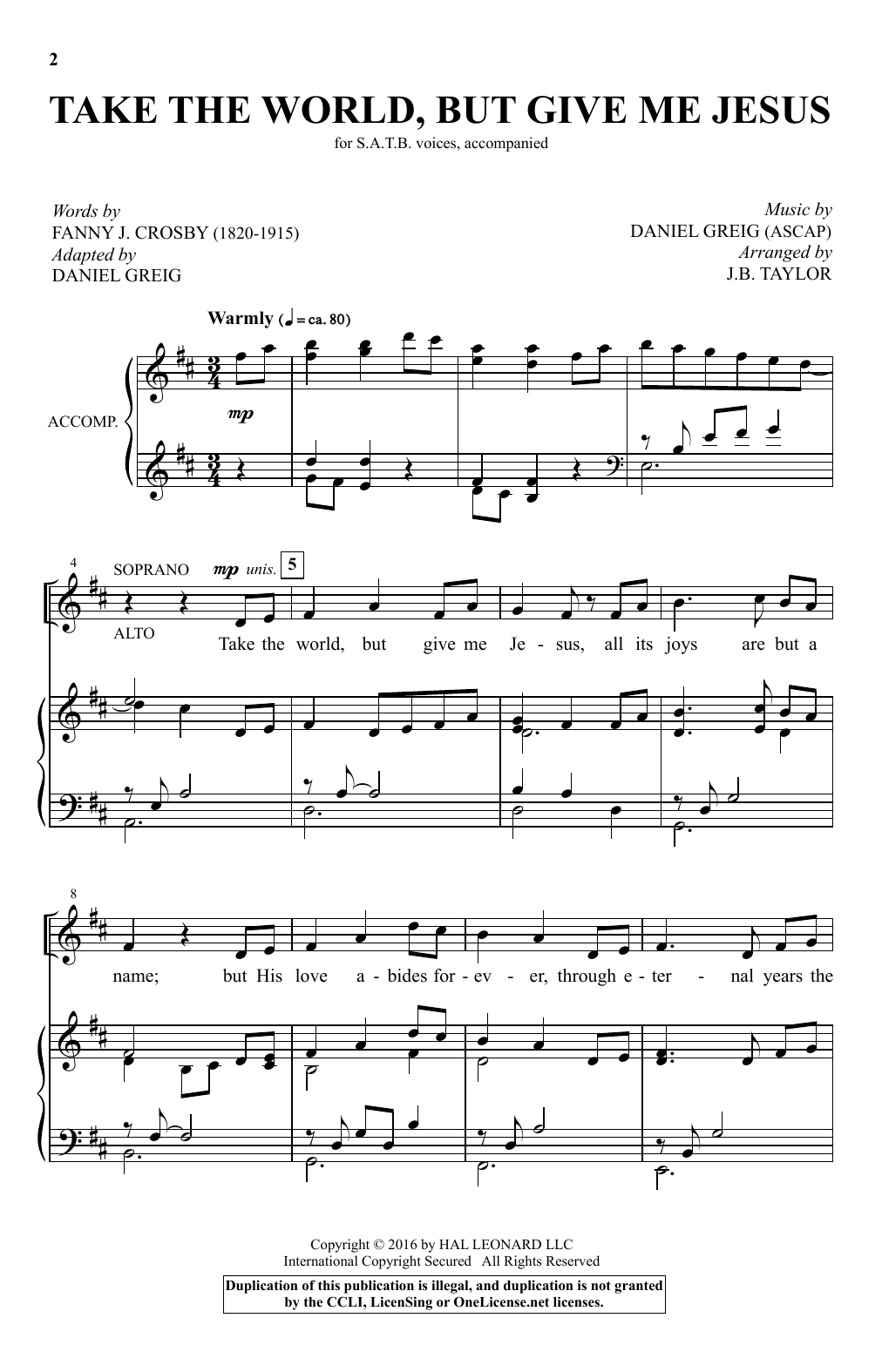 Take The World But Give Me Jesus (arr. J.B. Taylor) Sheet Music