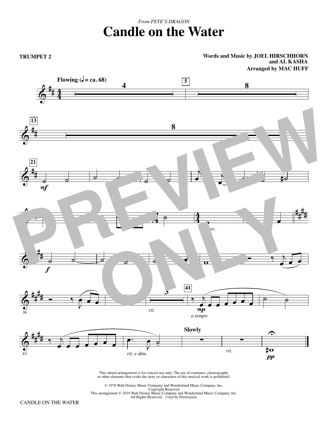 Candle on the Water - Trumpet 2 Sheet Music