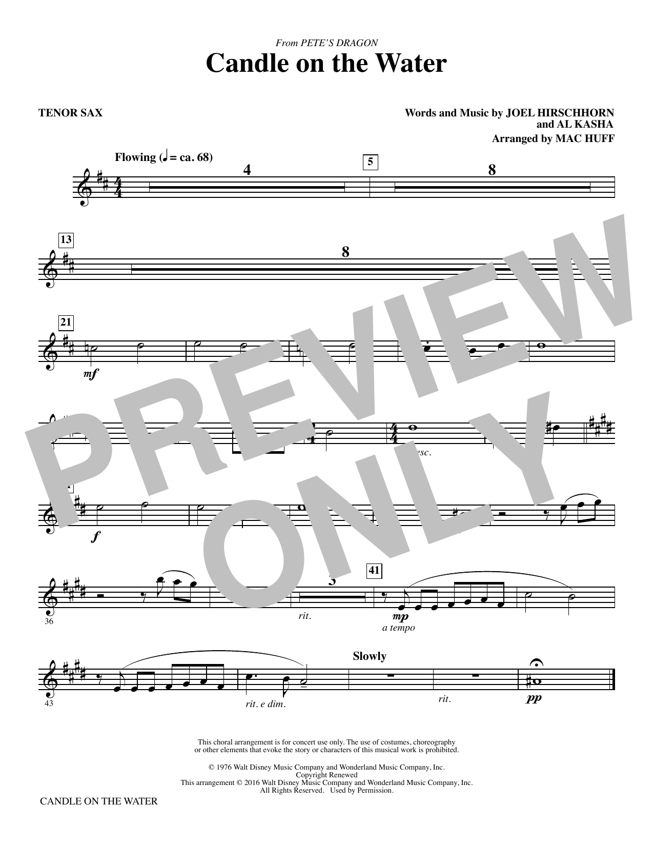 Candle on the Water - Tenor Sax Sheet Music