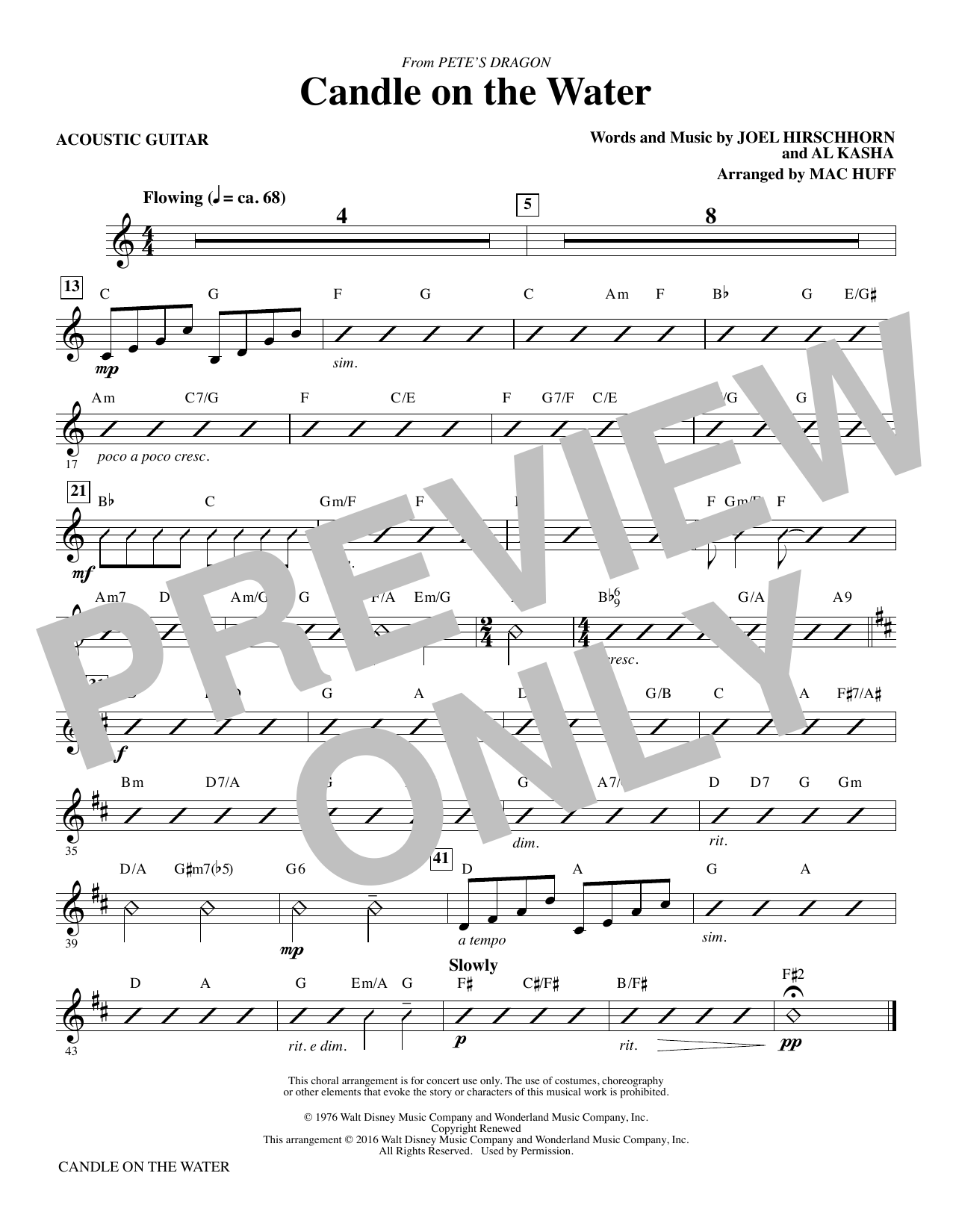 Candle on the Water - Acoustic Guitar Sheet Music