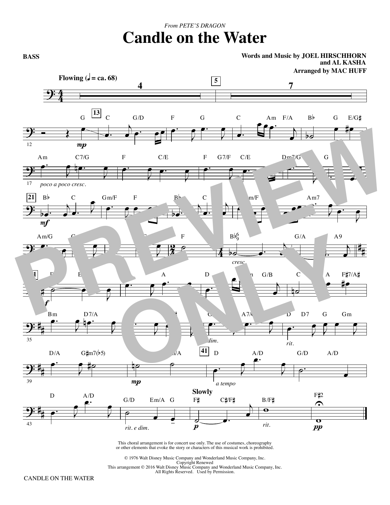 Candle on the Water - Bass Sheet Music