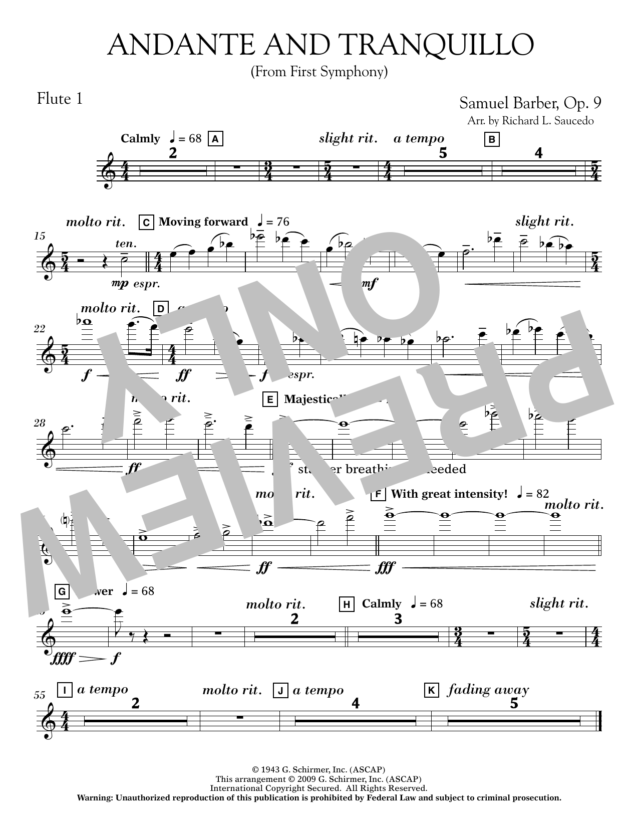 Andante and Tranquillo (from First Symphony) - Flute 1 Sheet Music