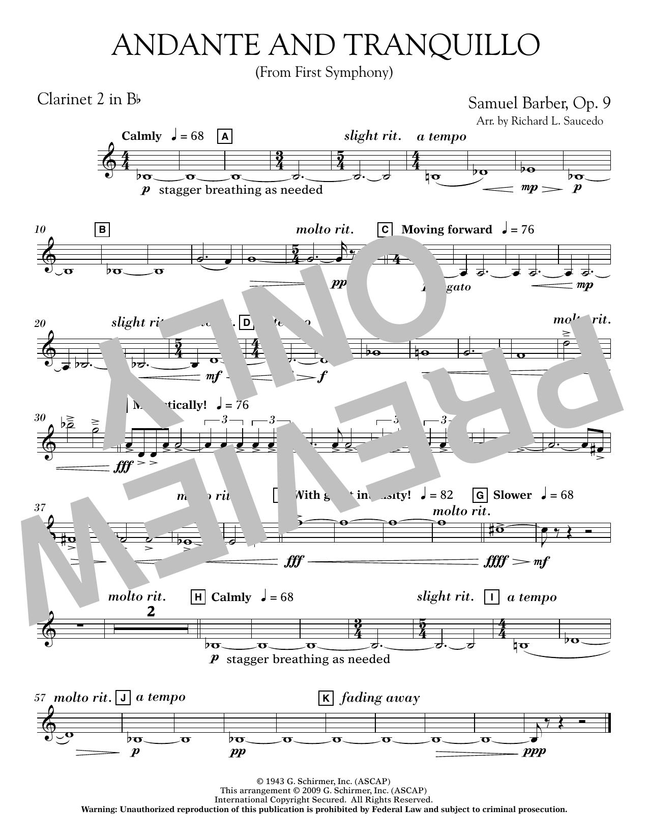 Andante and Tranquillo (from First Symphony) - Bb Clarinet 2 Sheet Music