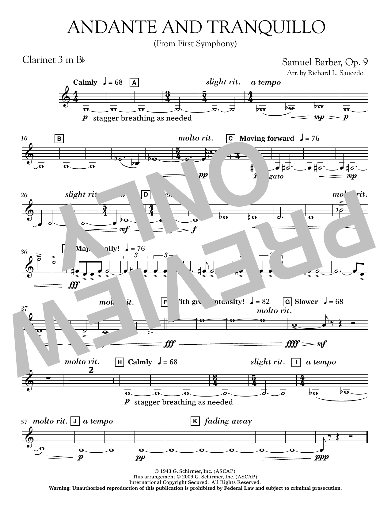 Andante and Tranquillo (from First Symphony) - Bb Clarinet 3 Sheet Music