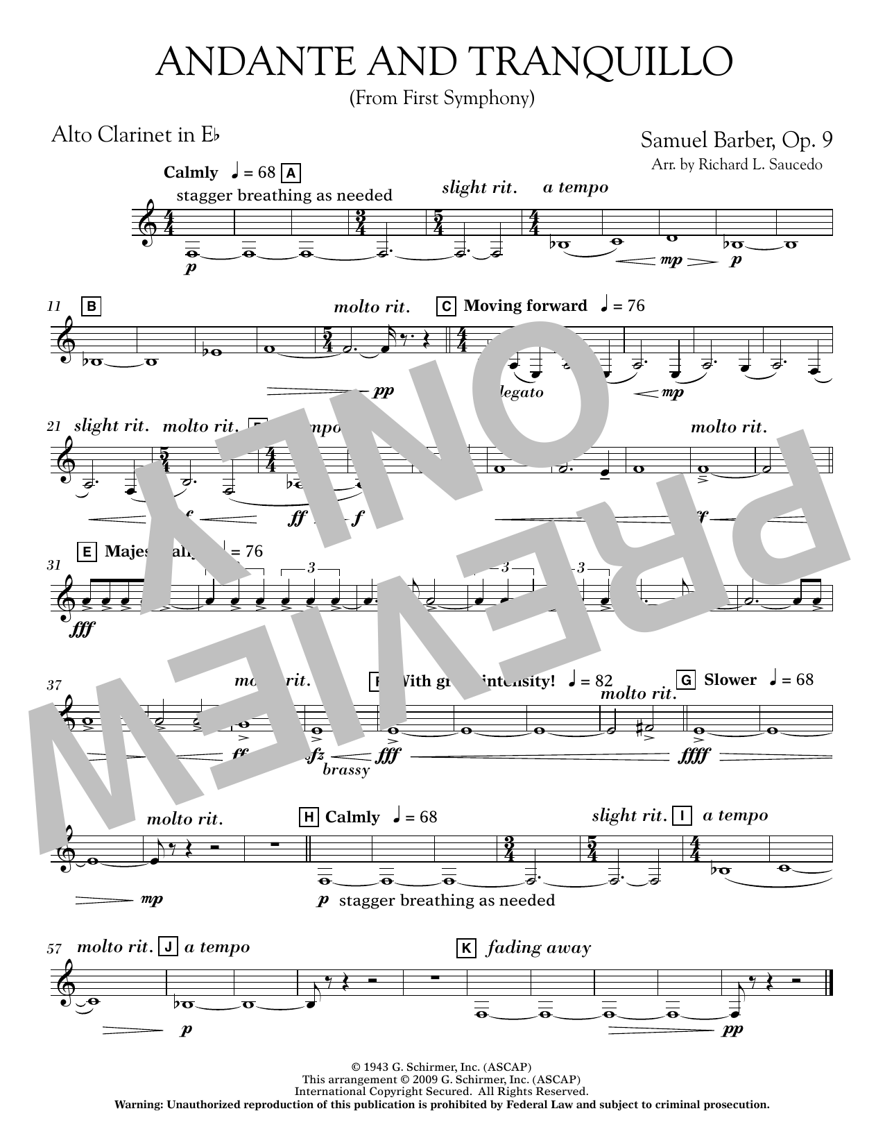 Andante and Tranquillo (from First Symphony) - Eb Alto Clarinet Sheet Music