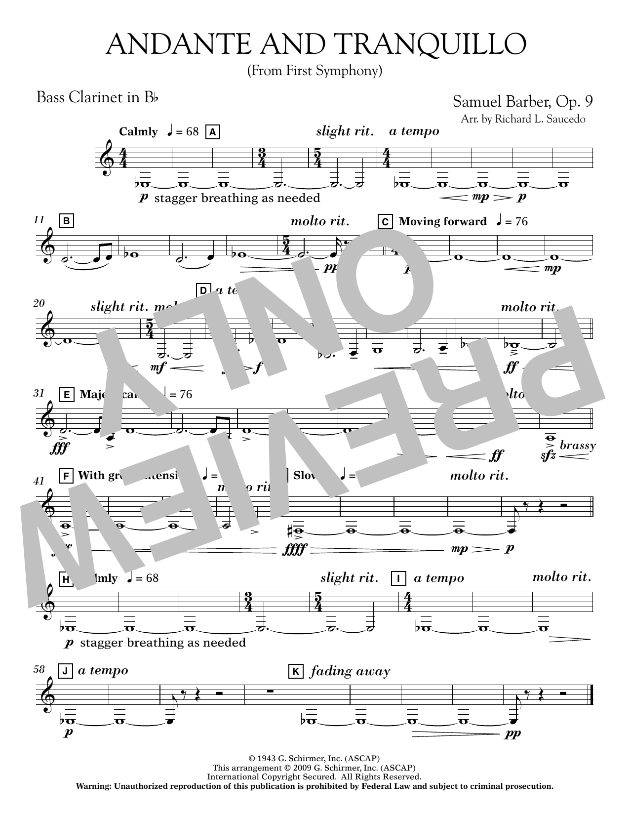 Andante and Tranquillo (from First Symphony) - Bb Bass Clarinet Sheet Music