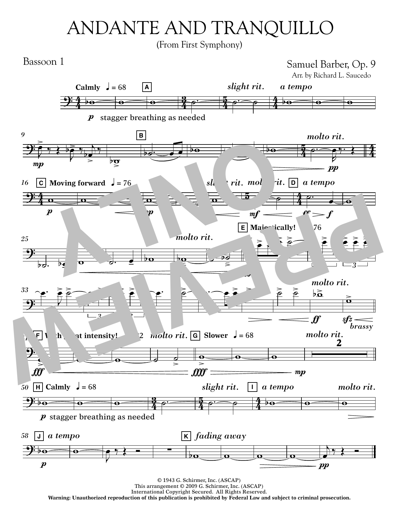 Andante and Tranquillo (from First Symphony) - Bassoon 1 (Concert Band)