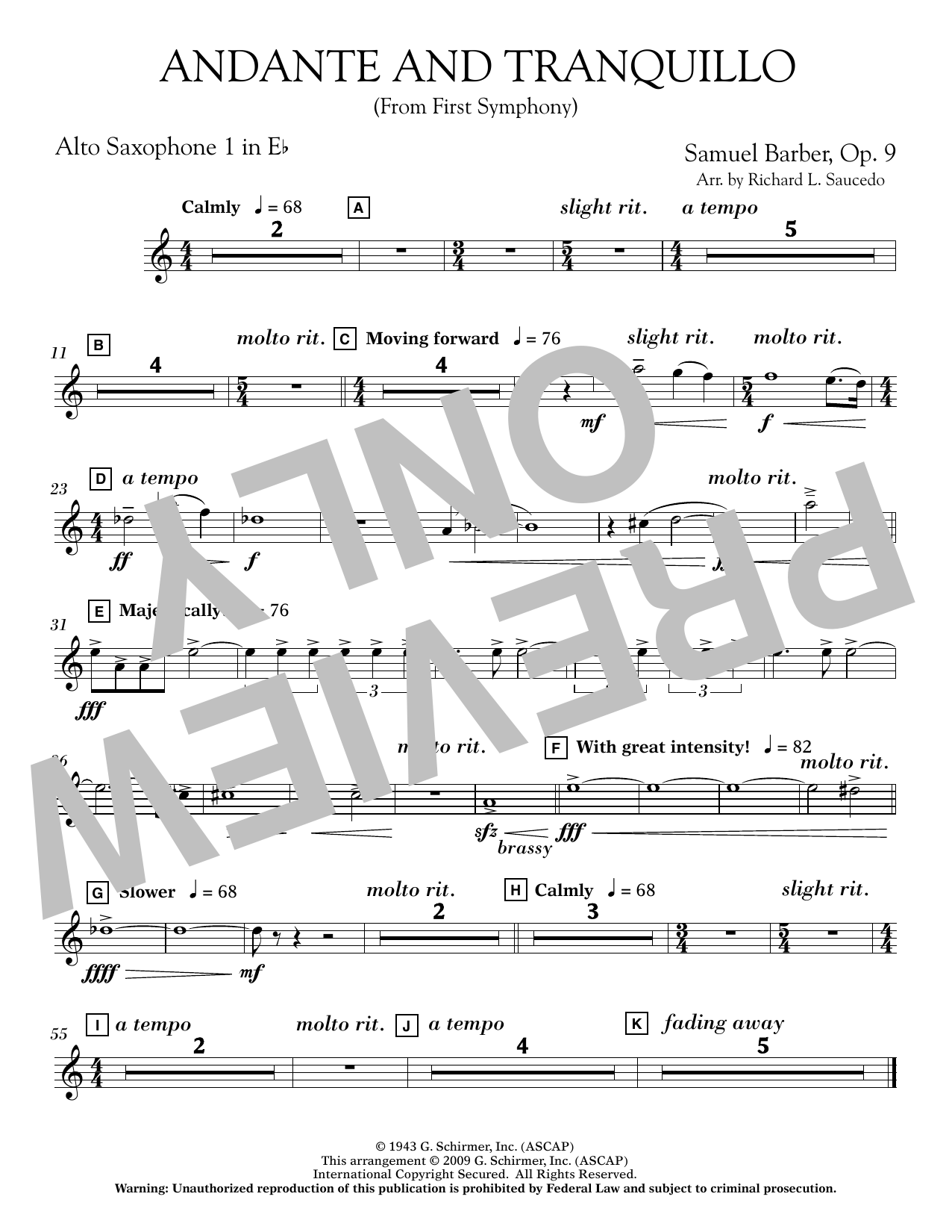Andante and Tranquillo (from First Symphony) - Eb Alto Saxophone 1 Sheet Music