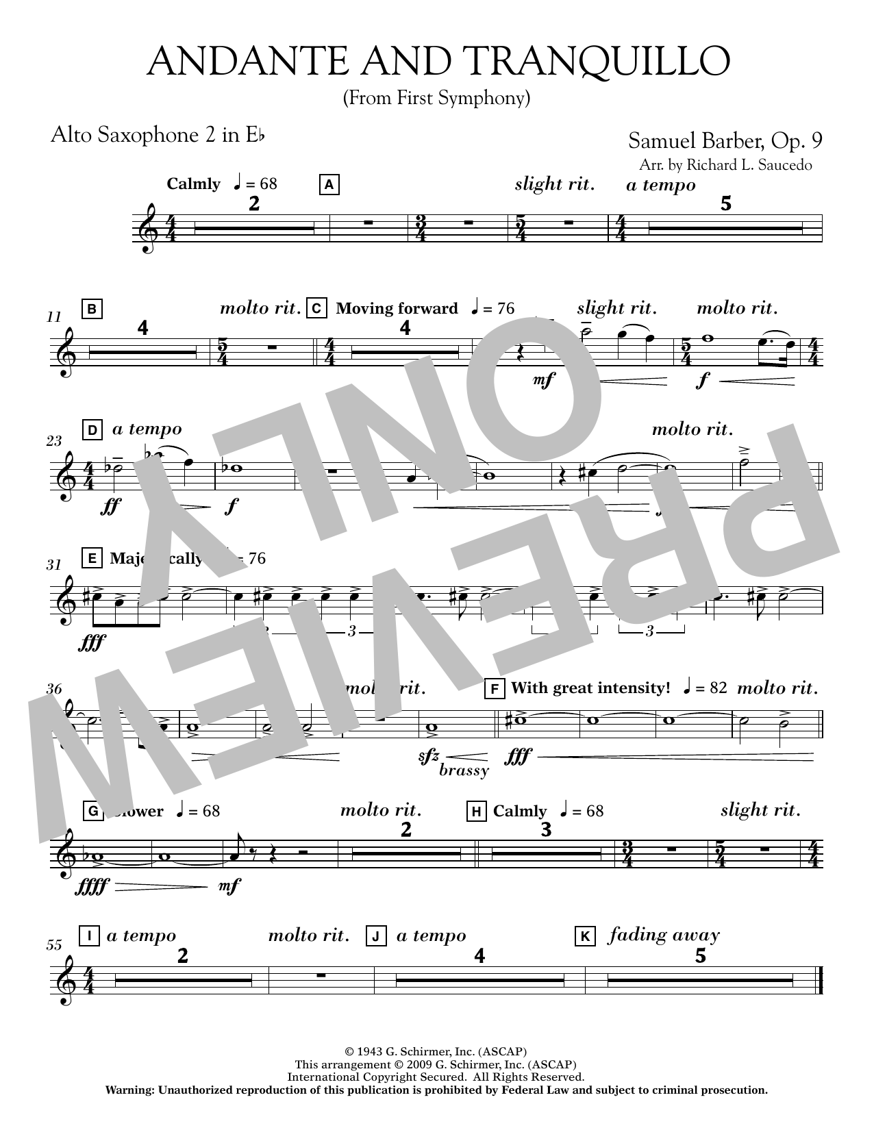 Andante and Tranquillo (from First Symphony) - Eb Alto Saxophone 2 (Concert Band)
