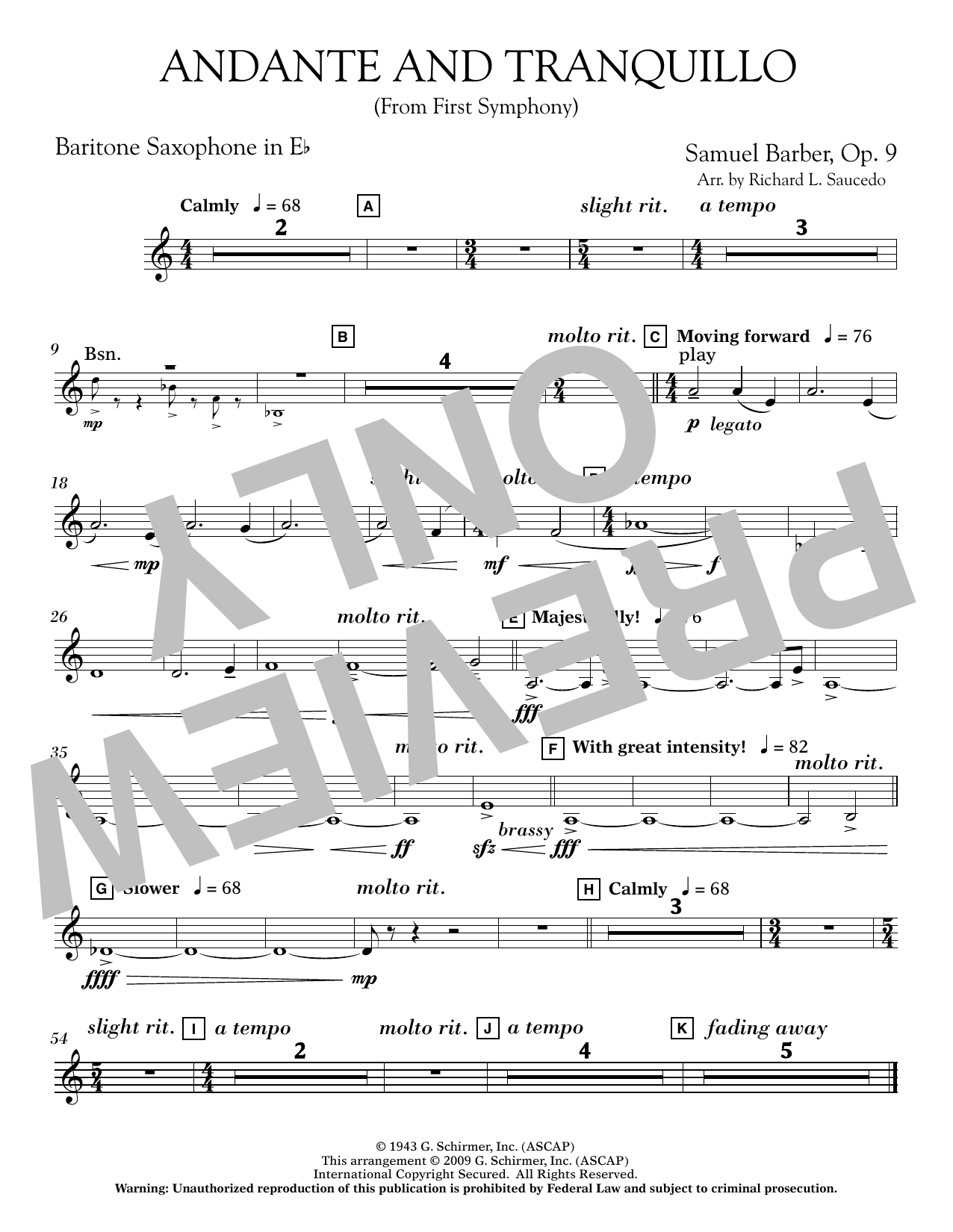 Andante and Tranquillo (from First Symphony) - Eb Baritone Saxophone (Concert Band)