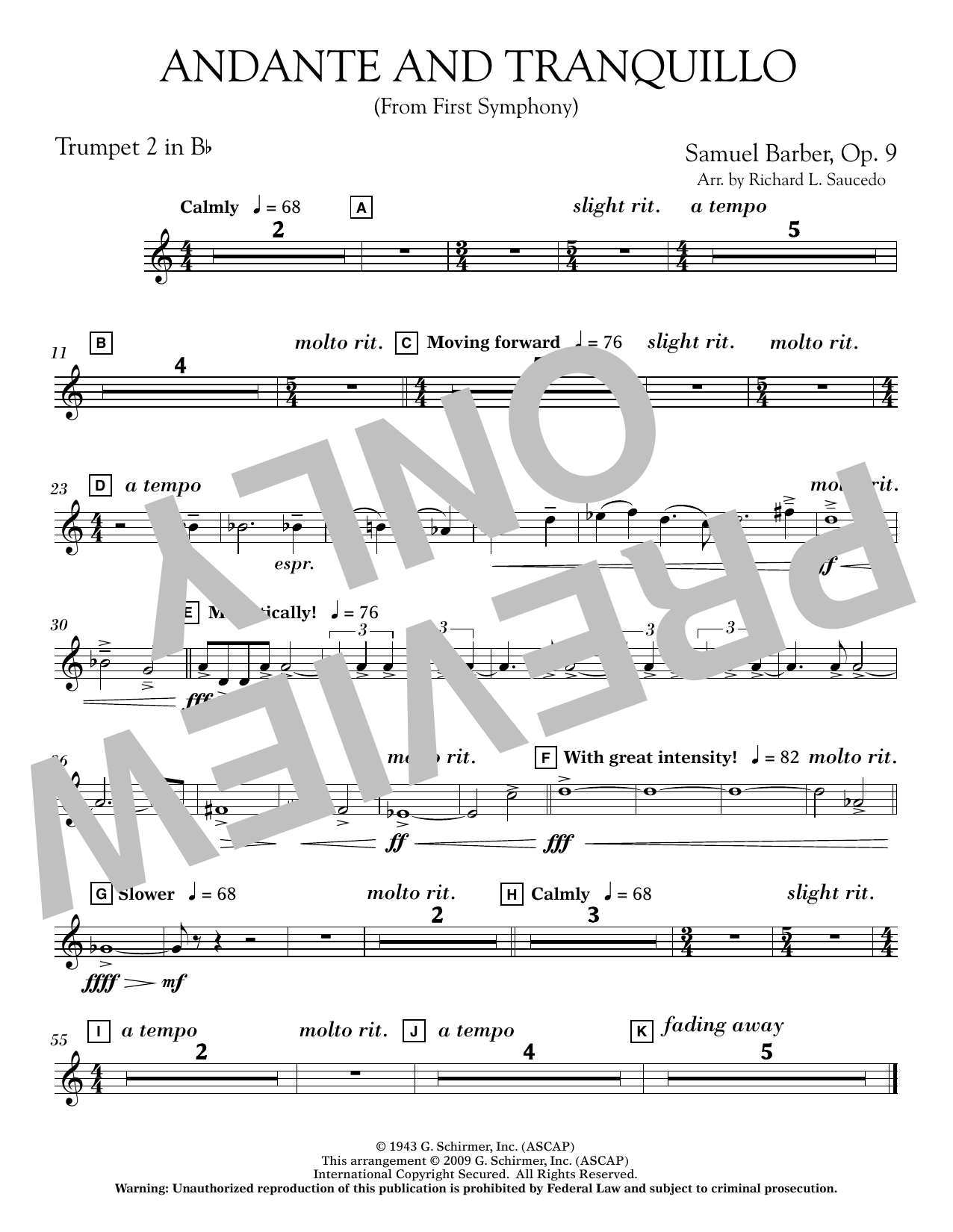 Andante and Tranquillo (from First Symphony) - Bb Trumpet 2 Sheet Music