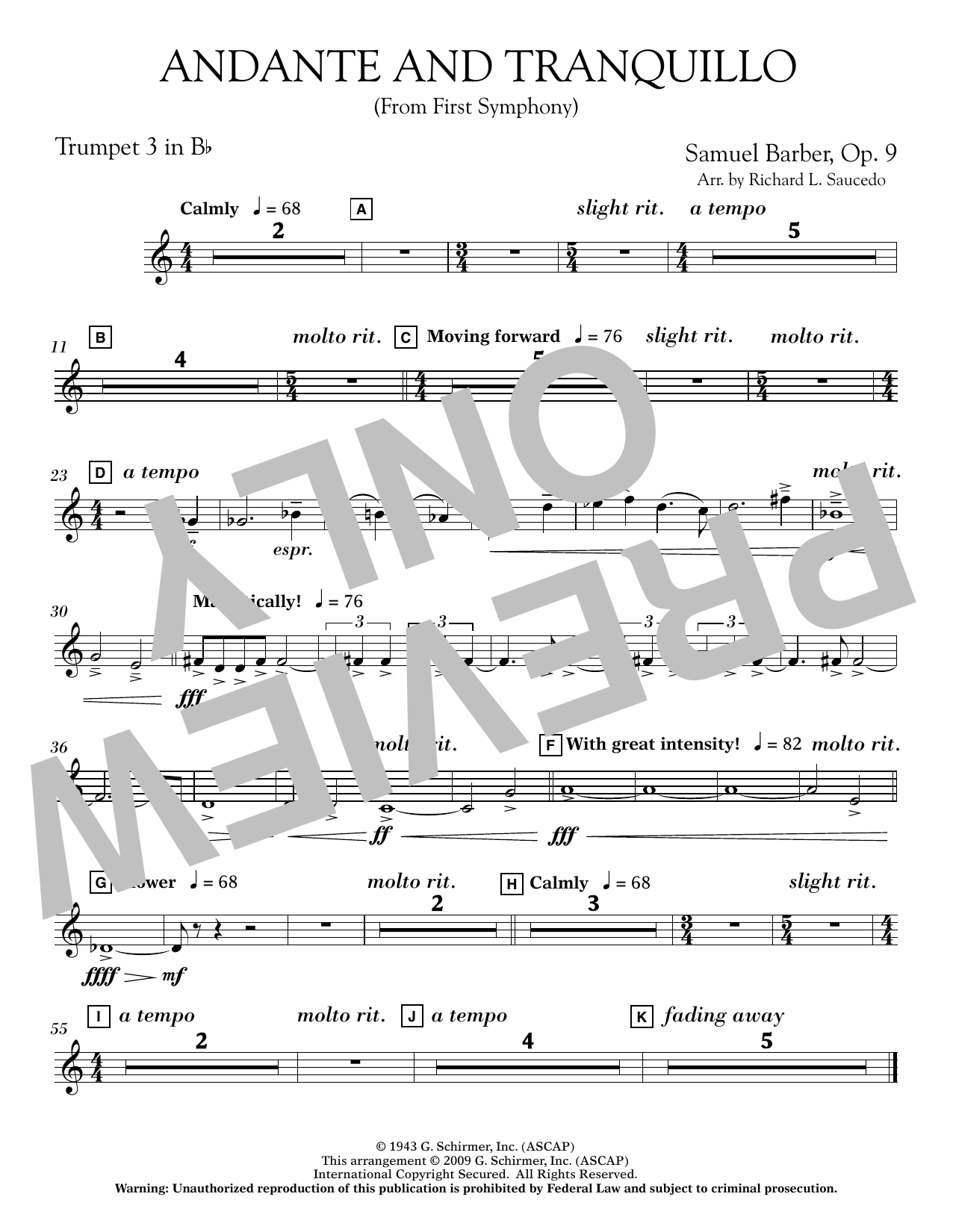 Andante and Tranquillo (from First Symphony) - Bb Trumpet 3 Sheet Music