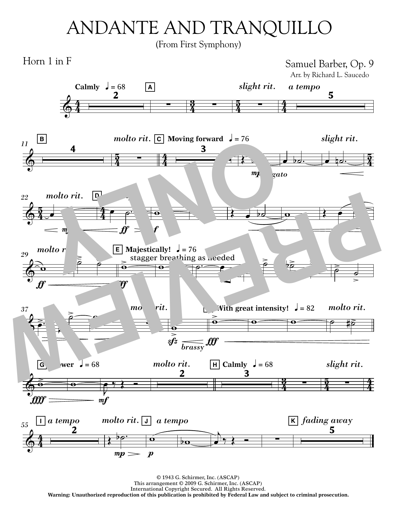 Andante and Tranquillo (from First Symphony) - F Horn 1 Sheet Music