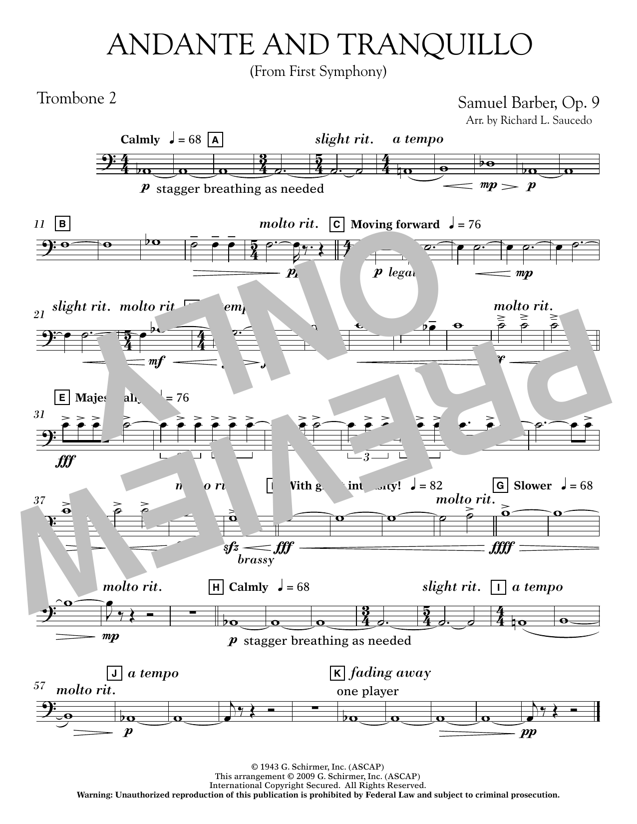 Andante and Tranquillo (from First Symphony) - Trombone 2 Sheet Music