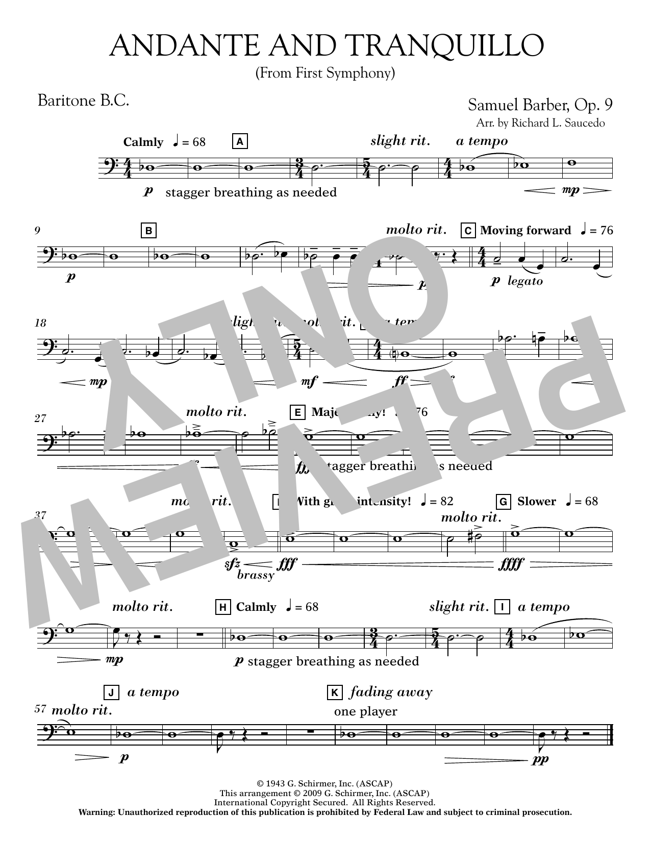 Andante and Tranquillo (from First Symphony) - Baritone B.C. Sheet Music