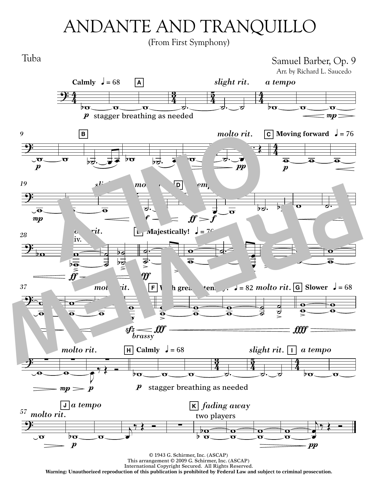Andante and Tranquillo (from First Symphony) - Tuba Sheet Music