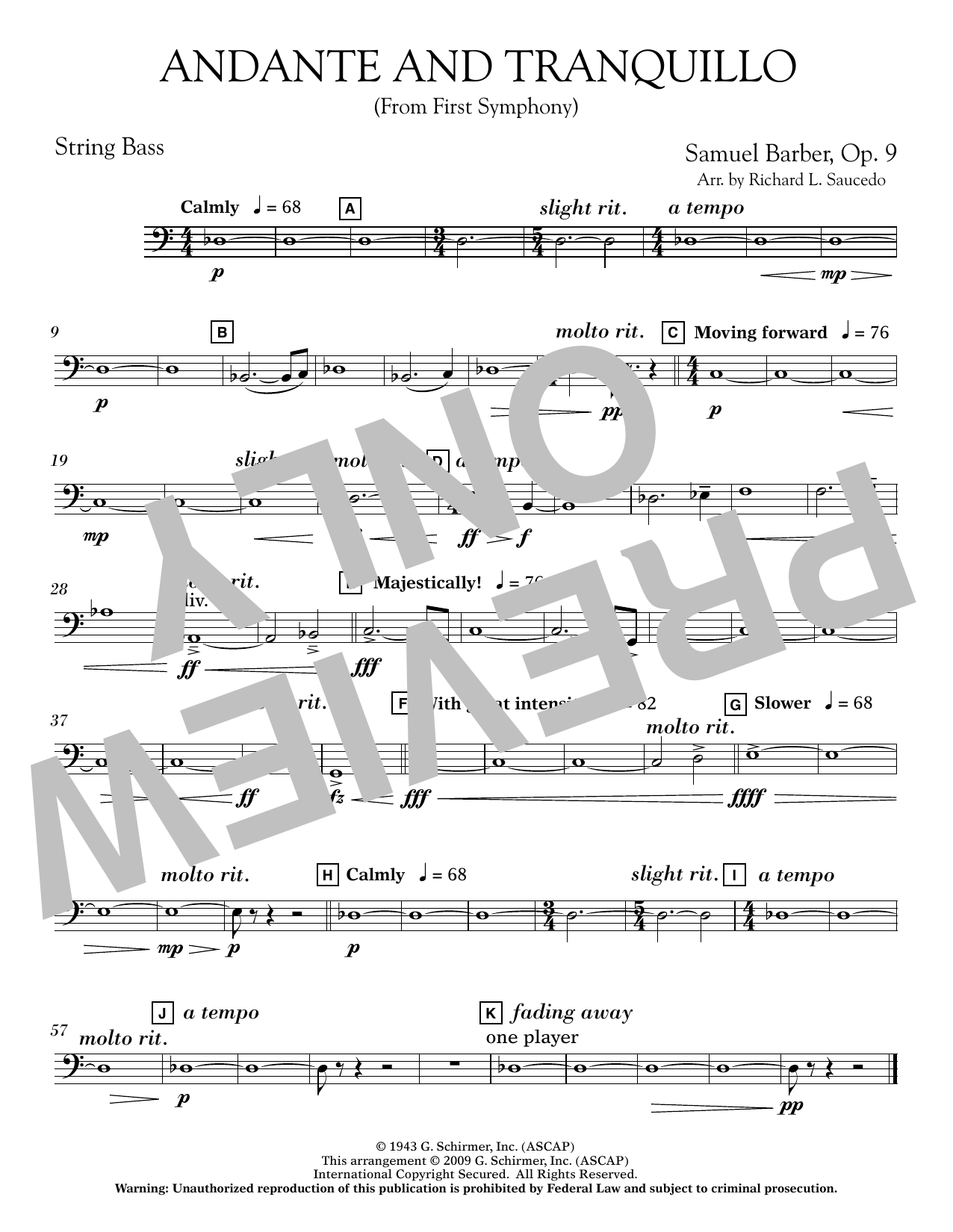 Andante and Tranquillo (from First Symphony) - String Bass Sheet Music