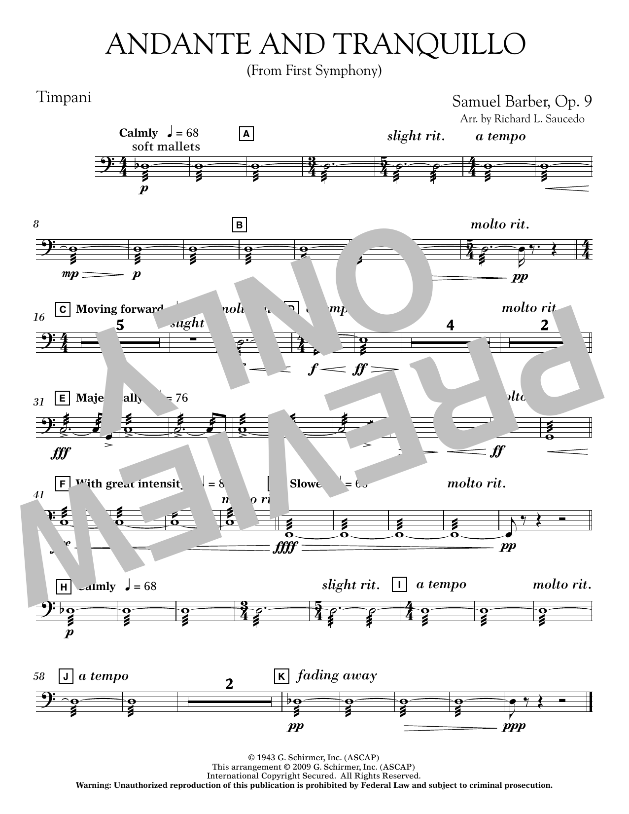 Andante and Tranquillo (from First Symphony) - Timpani Sheet Music