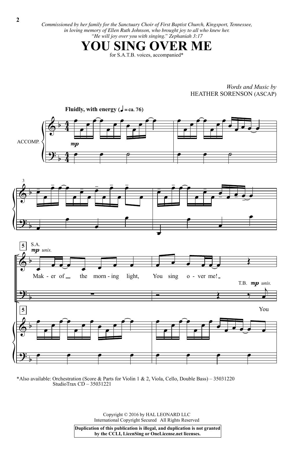 You Sing Over Me (SATB Choir)