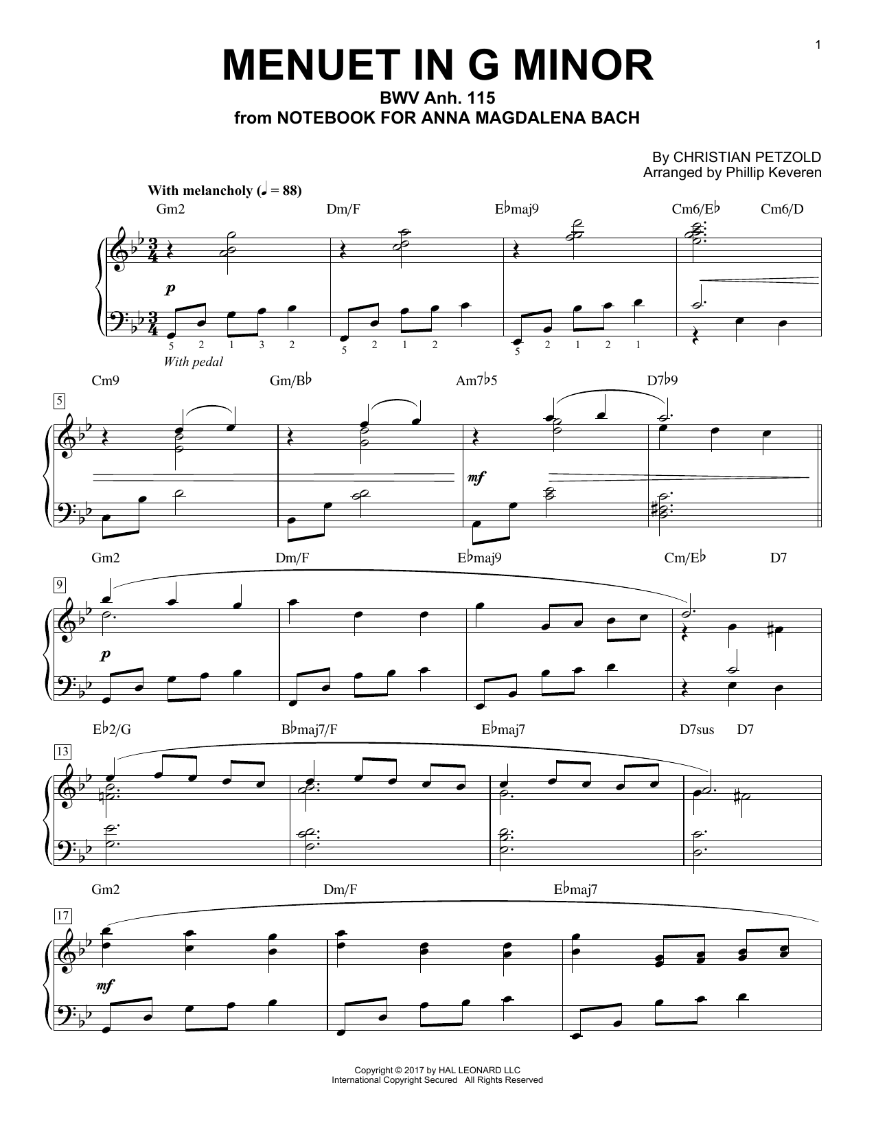 Menuet In G Minor, BMV Anh. 115 [Jazz version] (arr. Phillip Keveren) (Piano Solo)