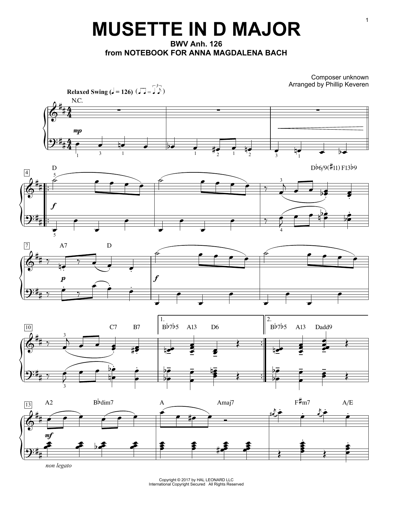 Musette In D Major, BWV Anh. 126 [Jazz version] (arr. Phillip Keveren) (Piano Solo)