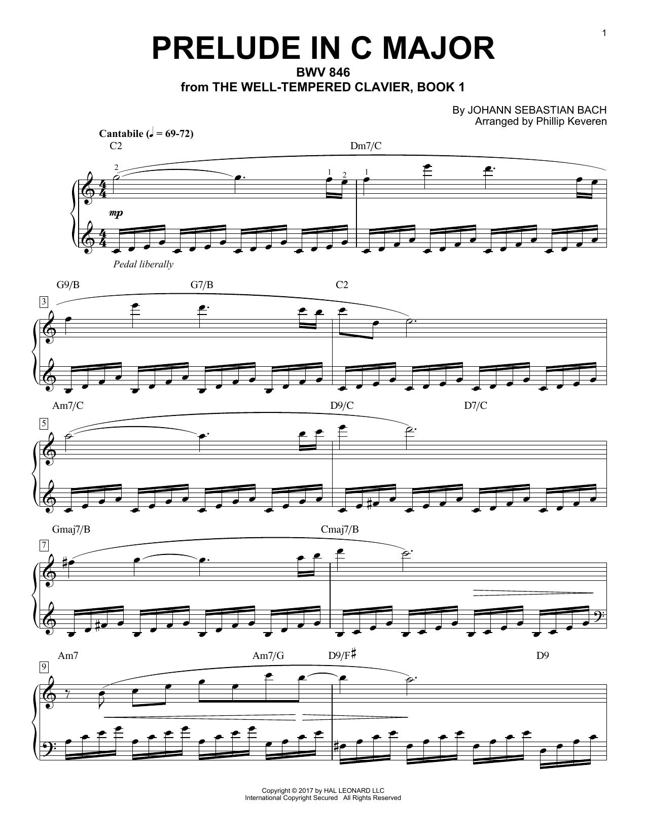 Prelude In C Major, BWV 846 [Jazz version] (arr. Phillip Keveren) (Piano Solo)