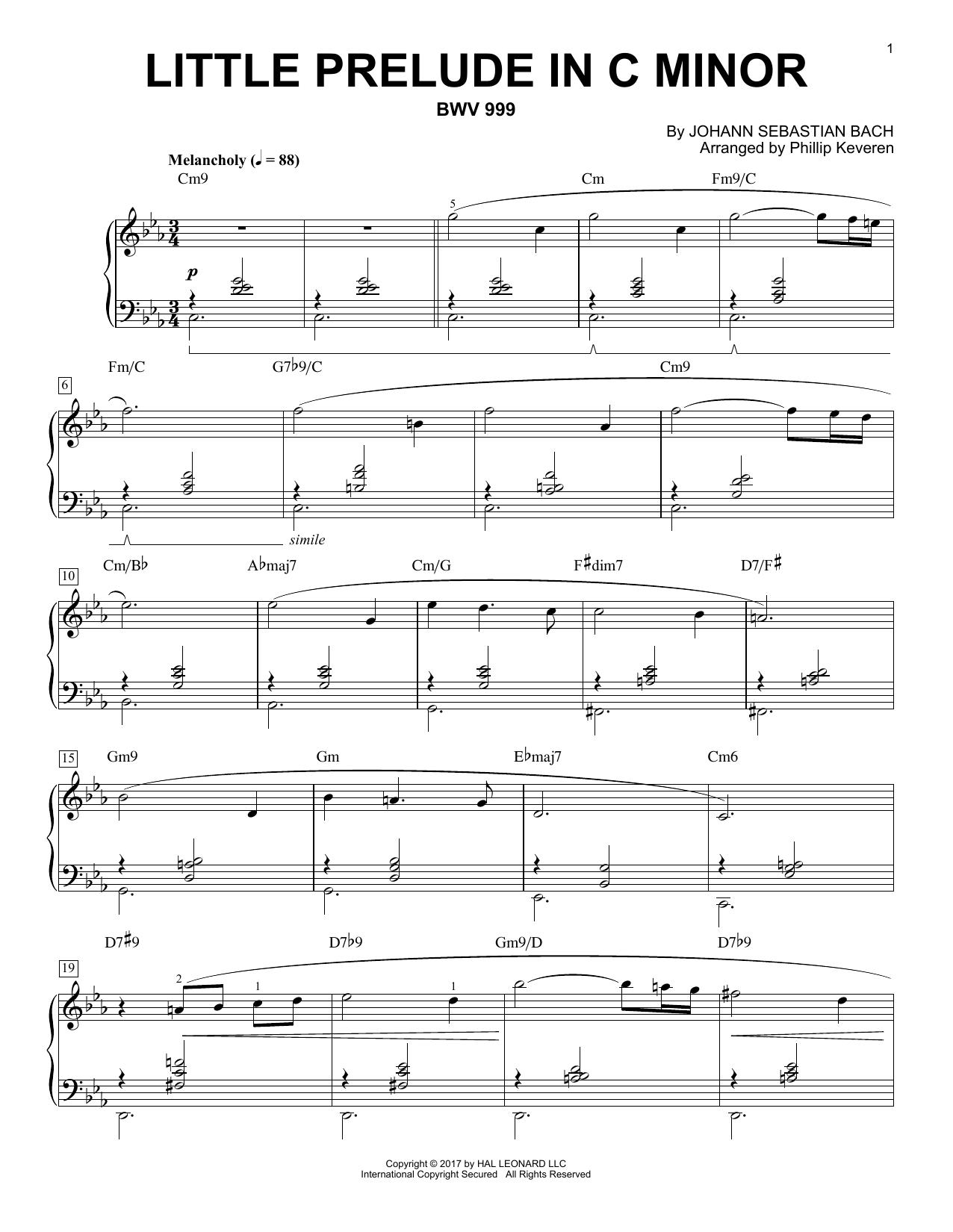 Little Prelude in C Minor, BWV 999 [Jazz version] (arr. Phillip Keveren) (Piano Solo)