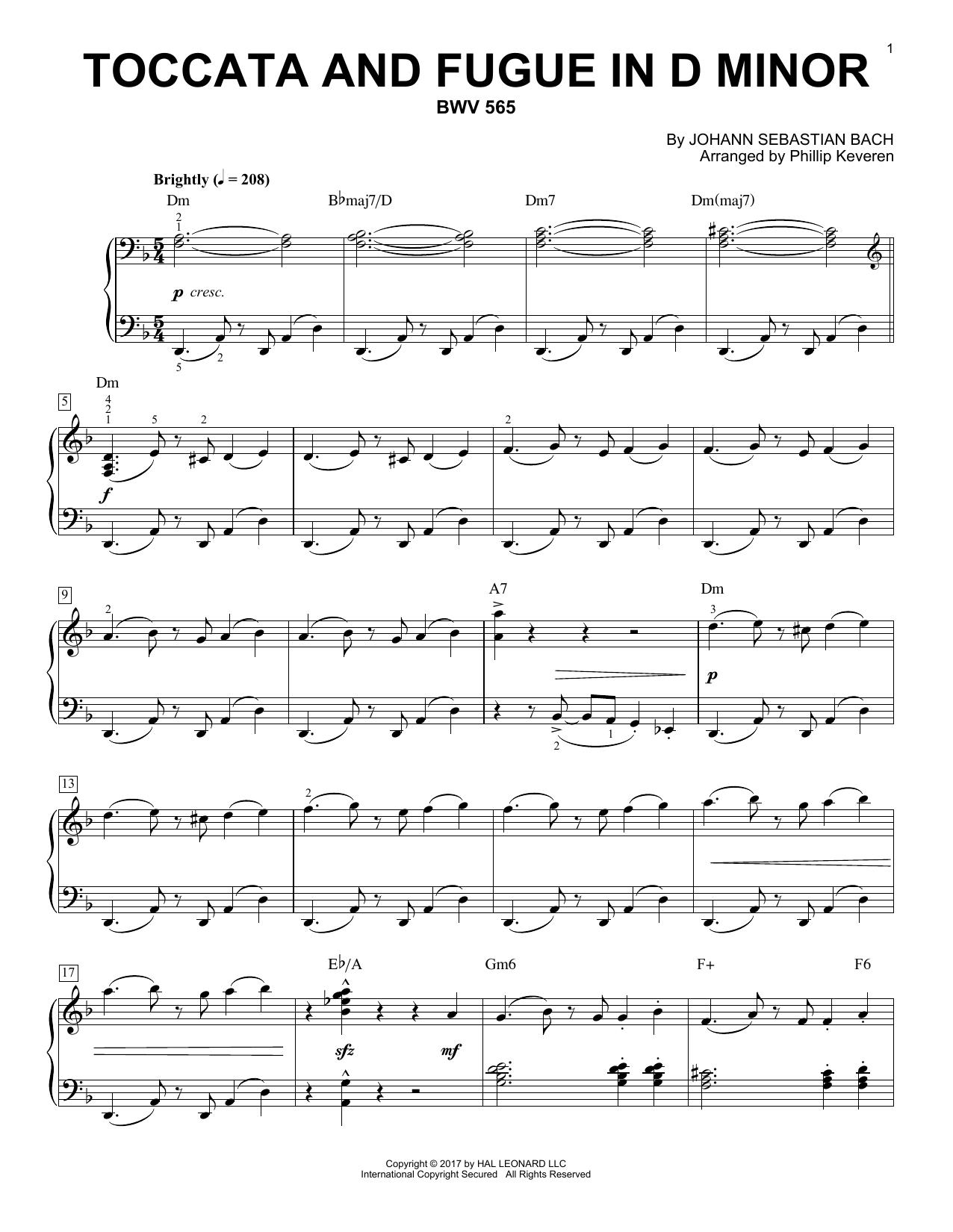 Toccata And Fugue In D Minor, BWV 565  [Jazz version] (arr. Phillip Keveren) (Piano Solo)