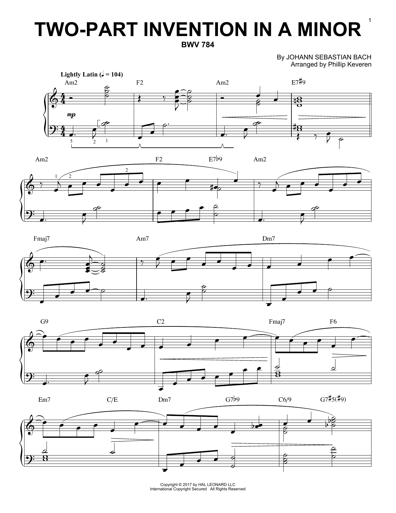 Two-Part Invention In A Minor, BWV 784 [Jazz version] (arr. Phillip Keveren) (Piano Solo)