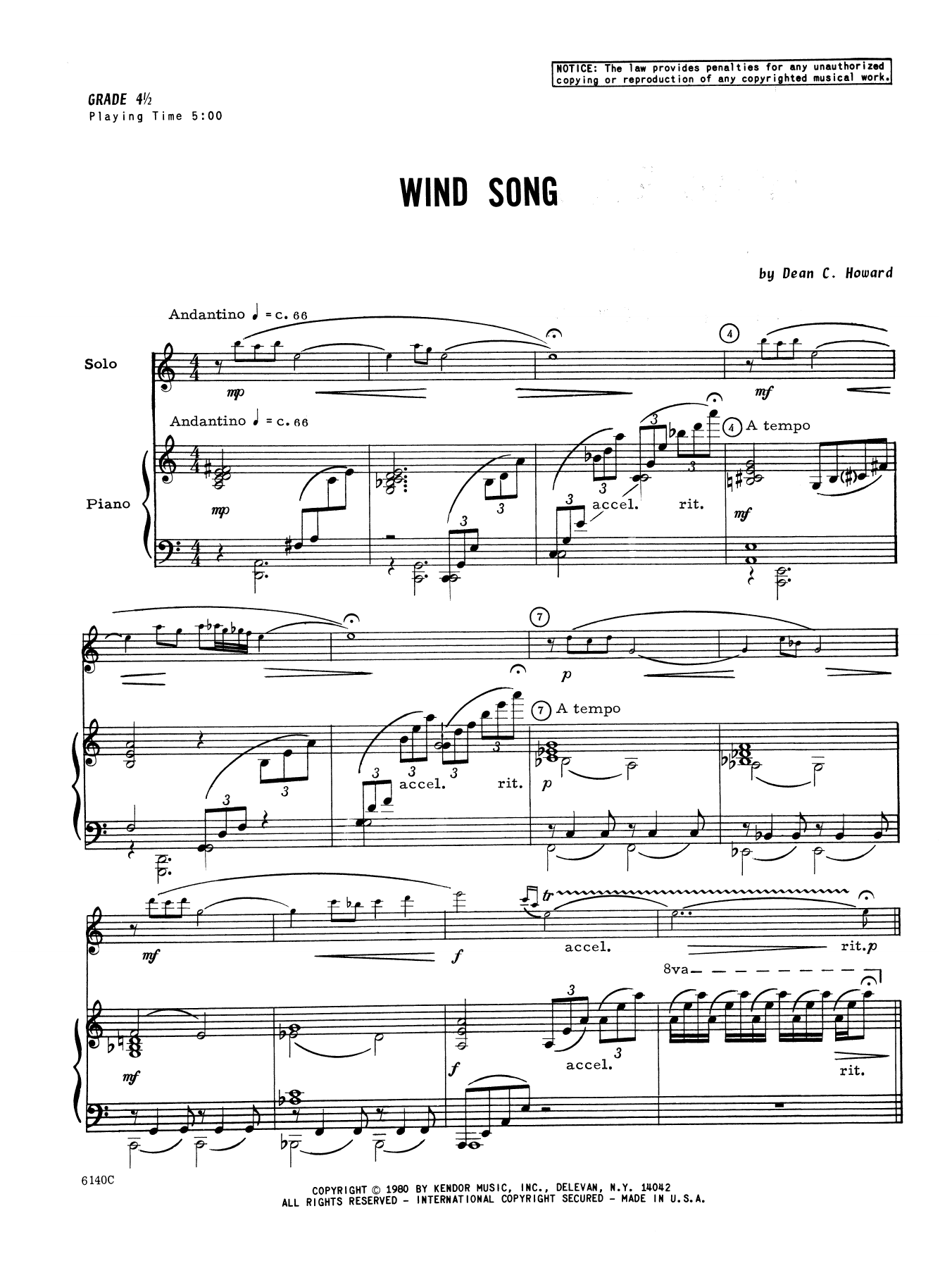 Wind Song - Piano Sheet Music