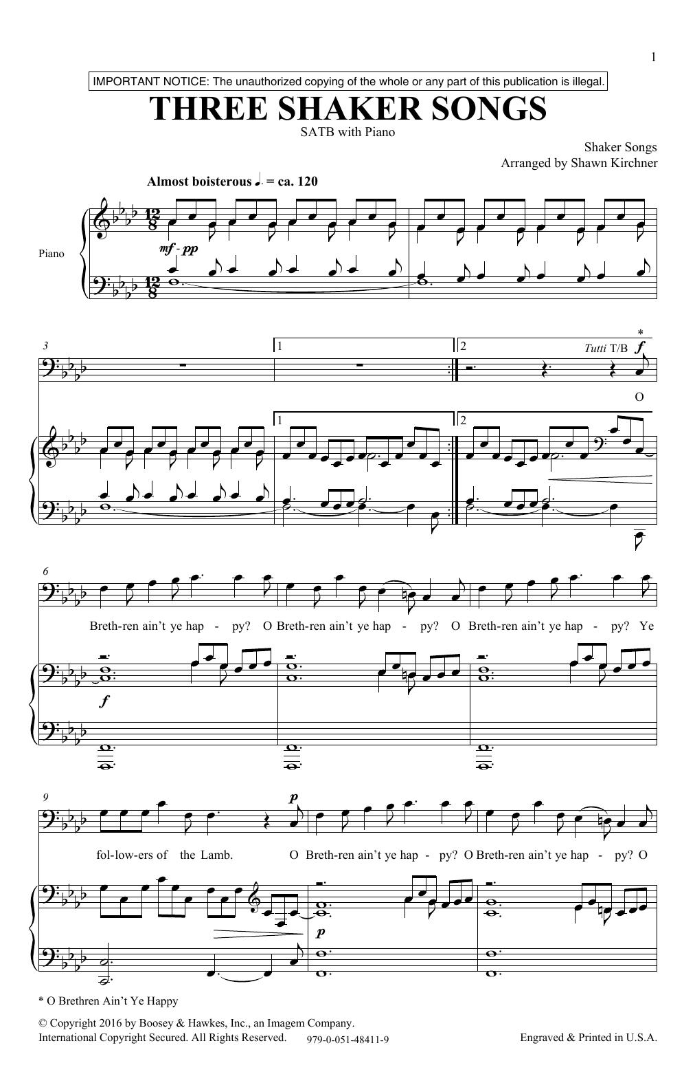Three Shaker Songs Sheet Music