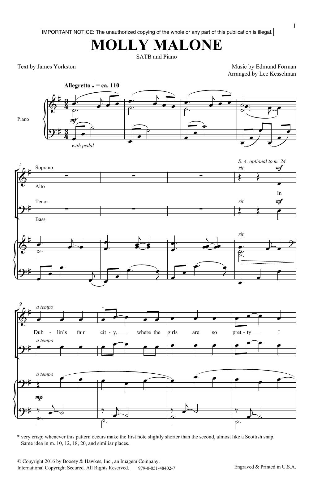 Molly Malone (SATB Choir)