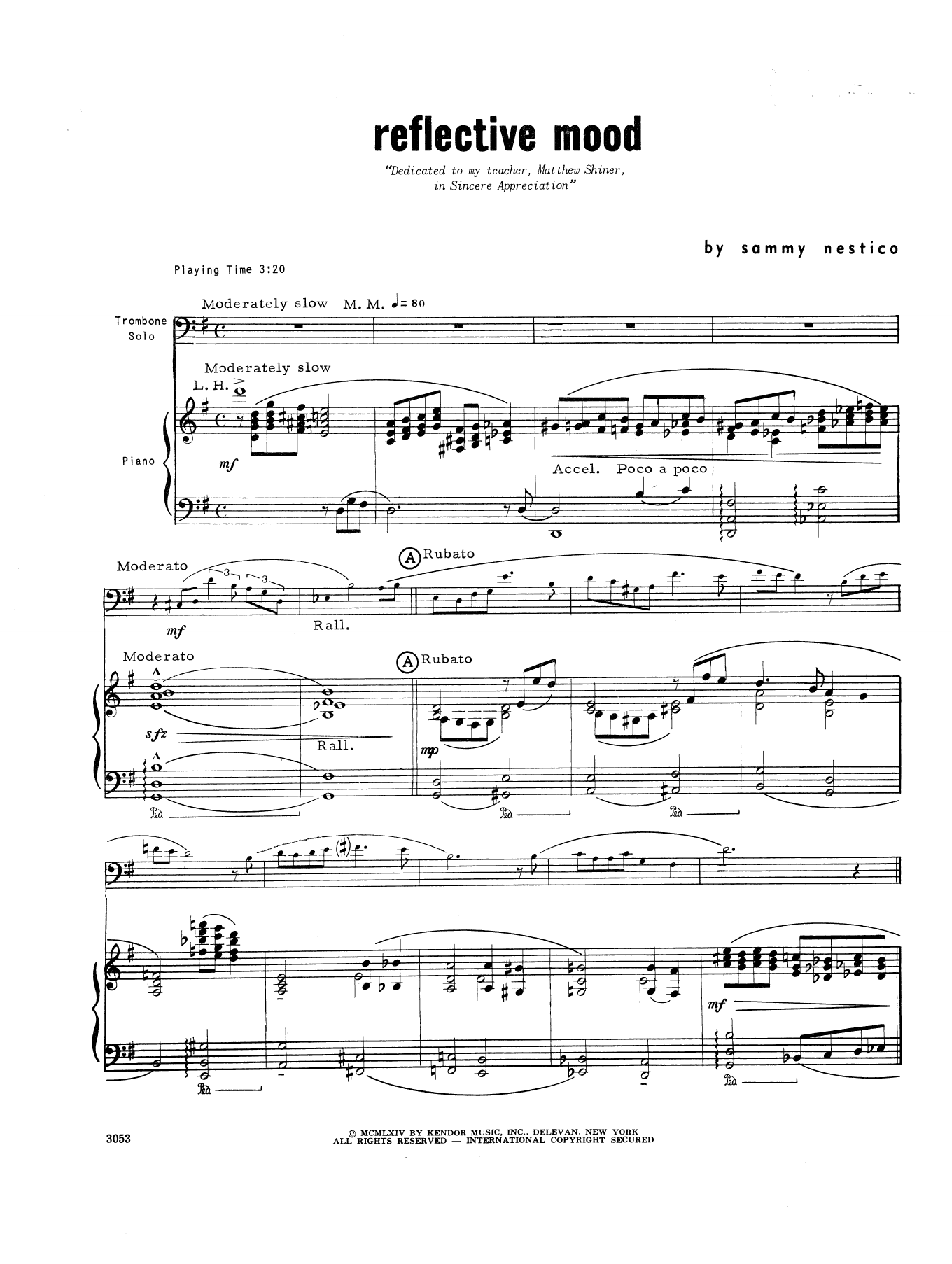 Reflective Mood - Piano Sheet Music
