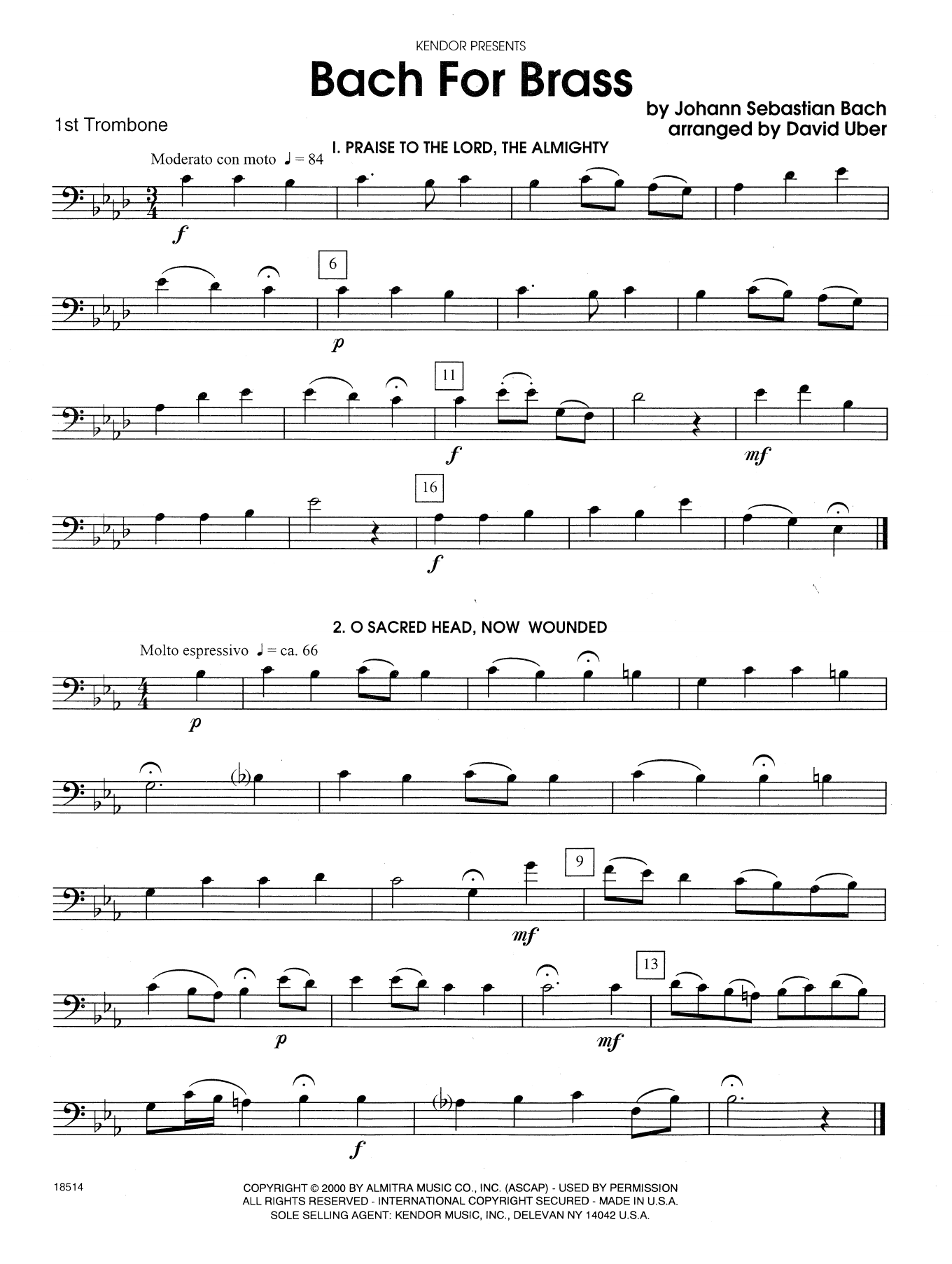Bach For Brass - 1st Trombone Sheet Music