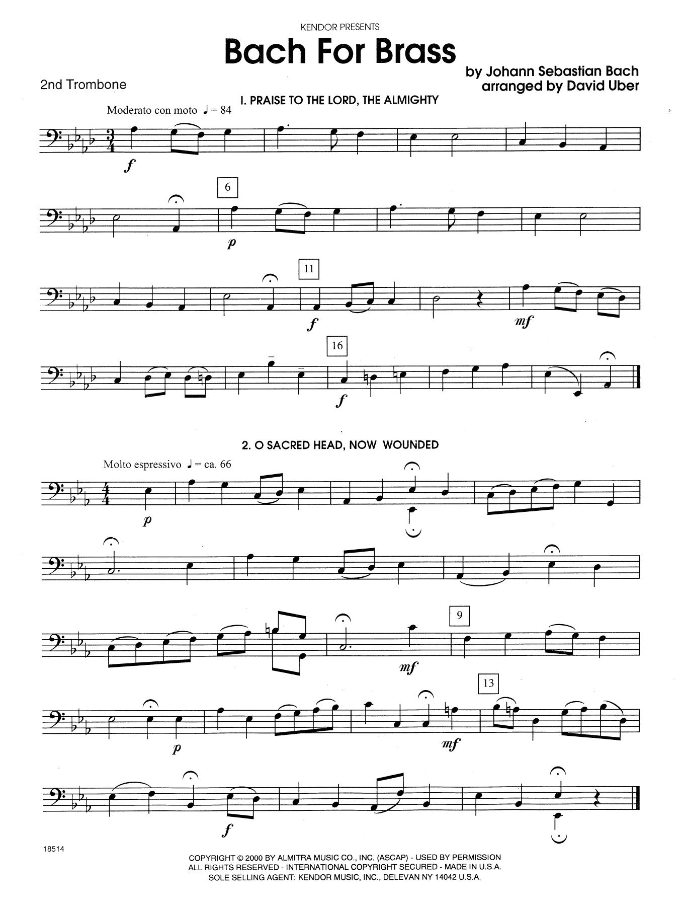 Bach For Brass - 2nd Trombone Sheet Music